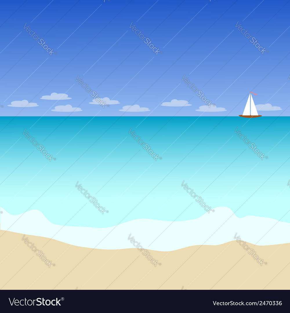 Seascape with yacht vector | Price: 1 Credit (USD $1)