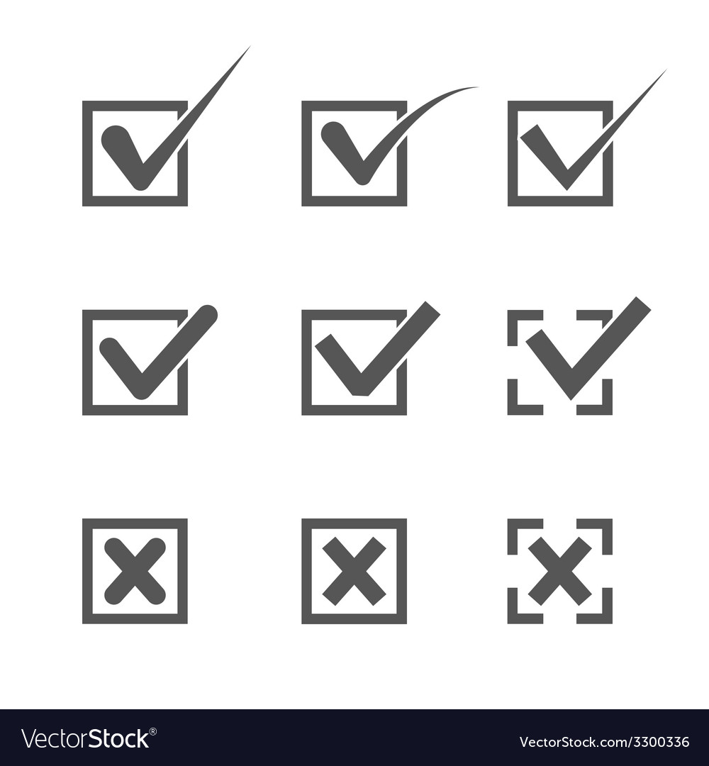 Set of nine different grey and white check marks vector | Price: 1 Credit (USD $1)