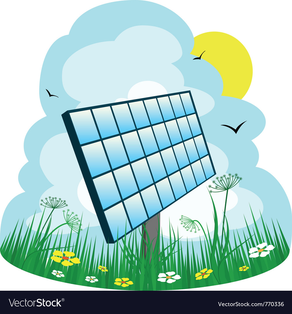 Solar panel on the meadow vector | Price: 1 Credit (USD $1)