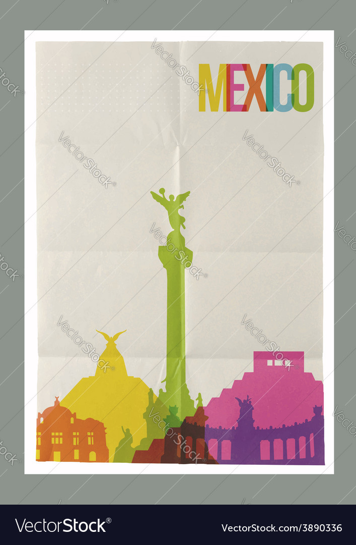 Travel mexico landmarks skyline vintage poster vector | Price: 1 Credit (USD $1)
