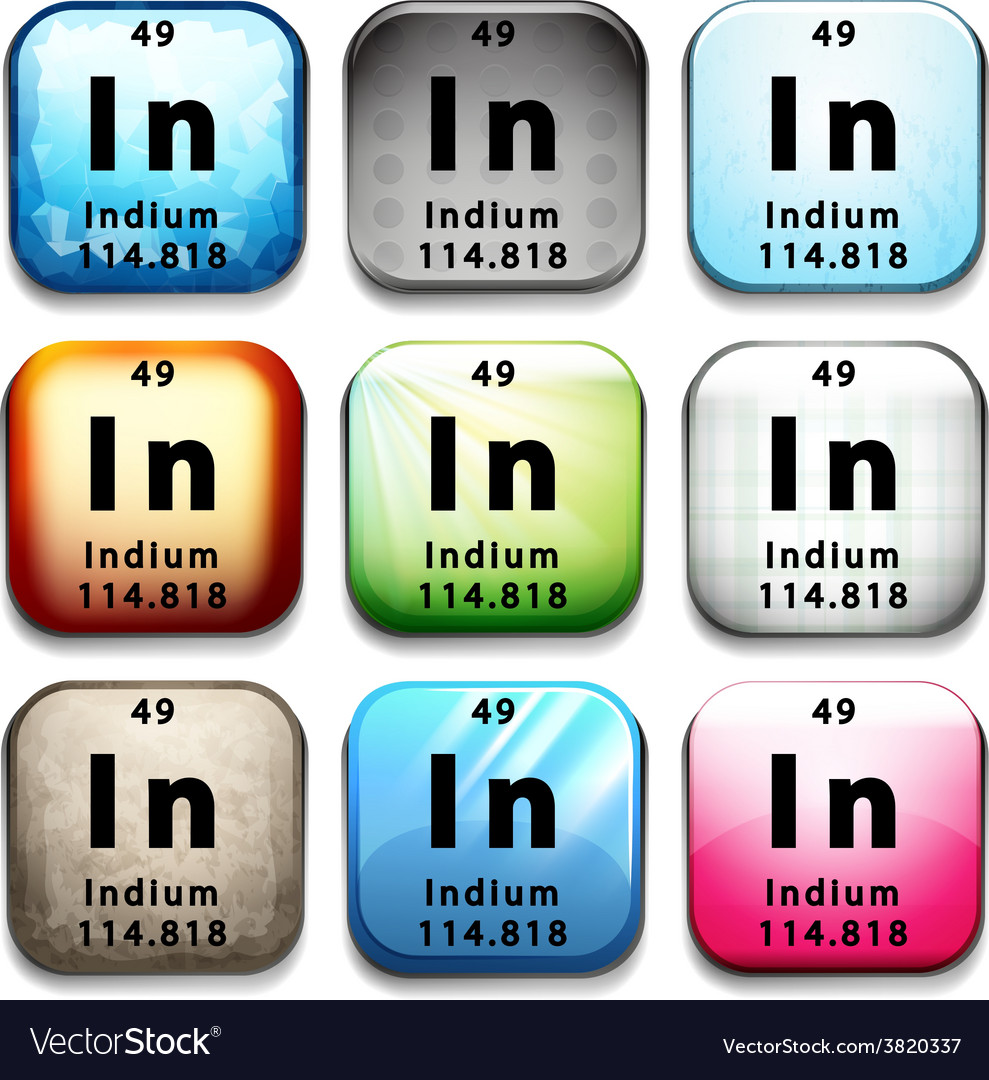 A button with the chemical element indium vector   Price: 1 Credit (USD $1)