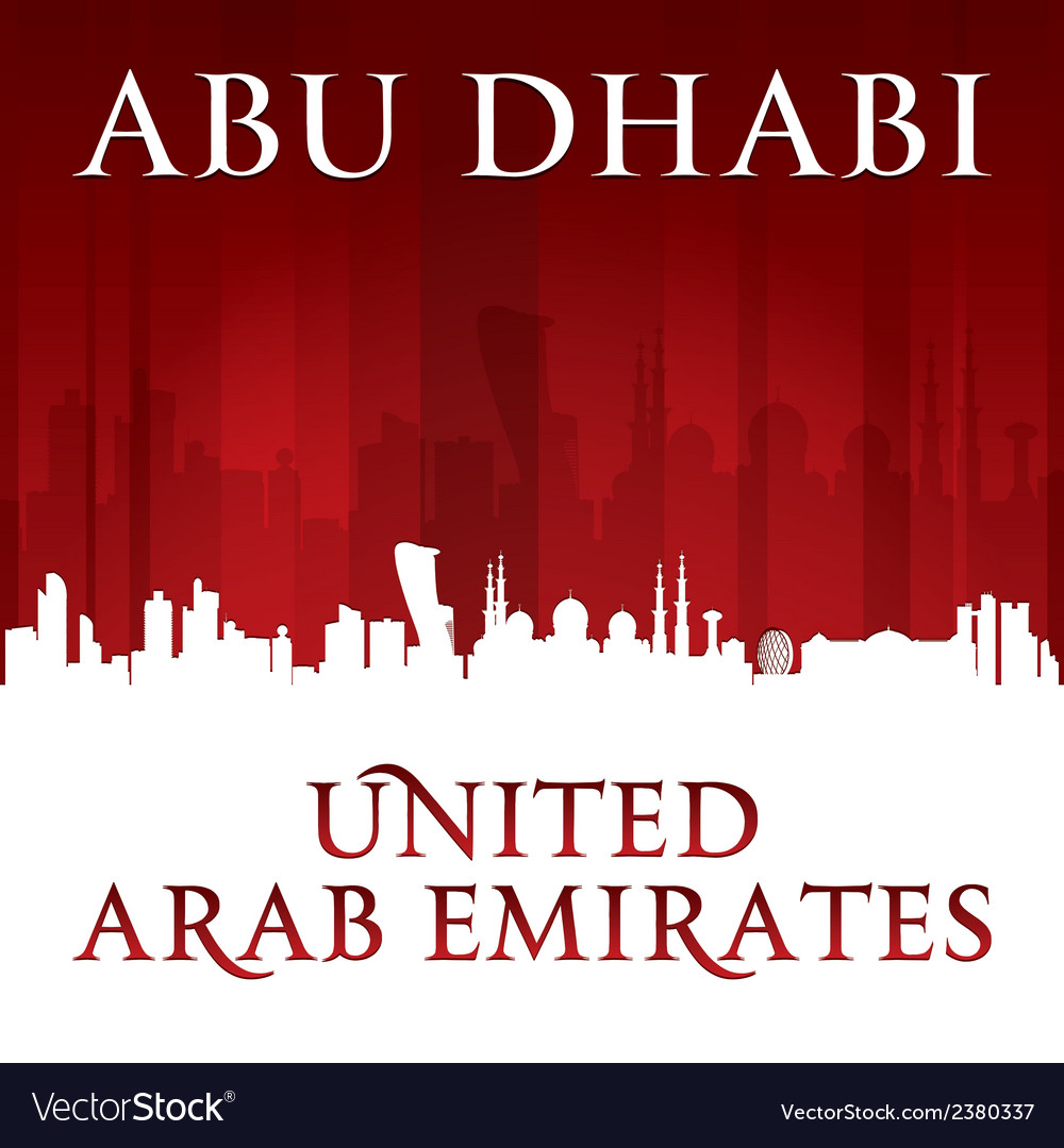 Abu dhabi uae city skyline silhouette vector | Price: 1 Credit (USD $1)
