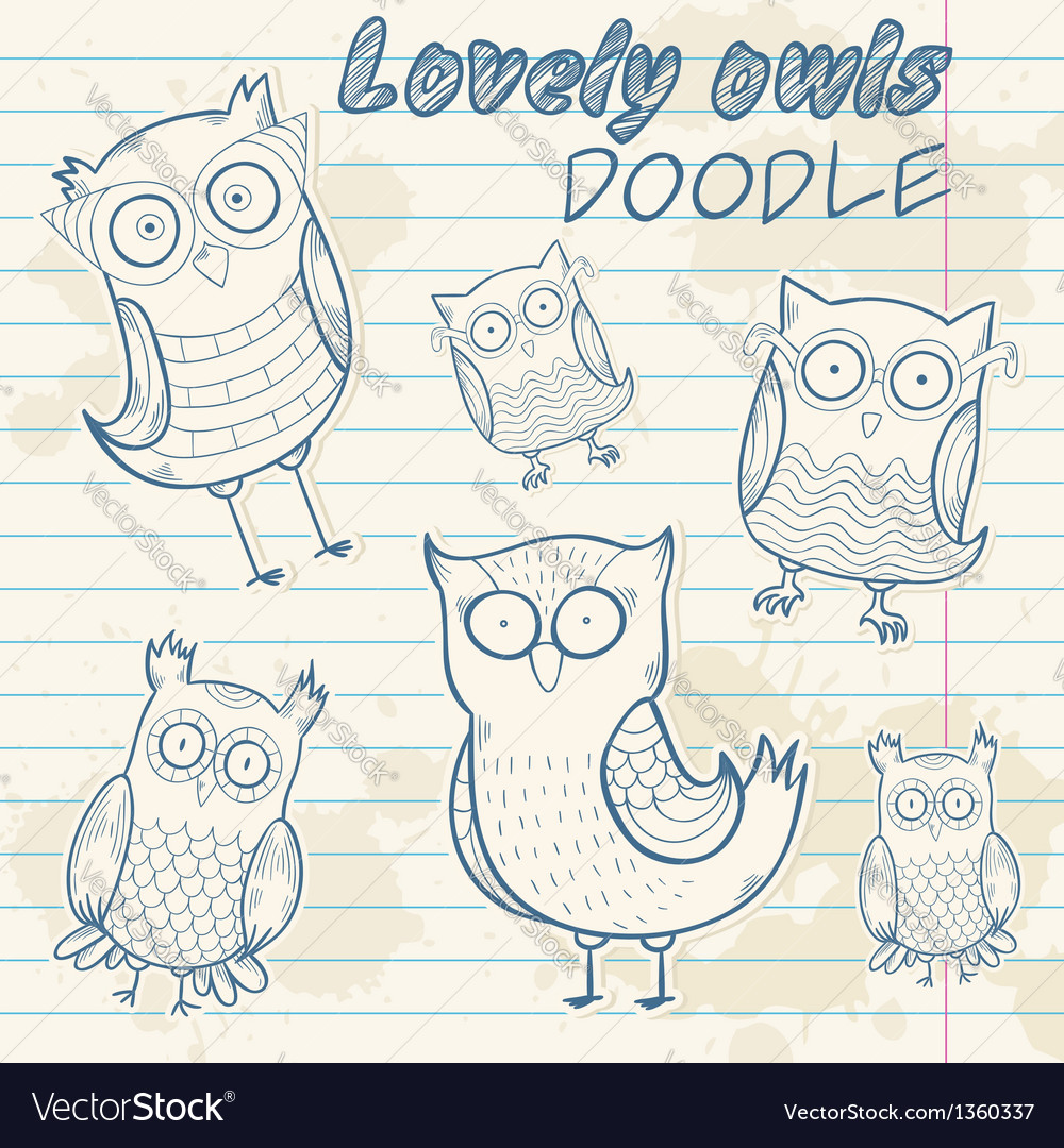 Cartoon owl stylish sticker doodle set collection vector | Price: 3 Credit (USD $3)