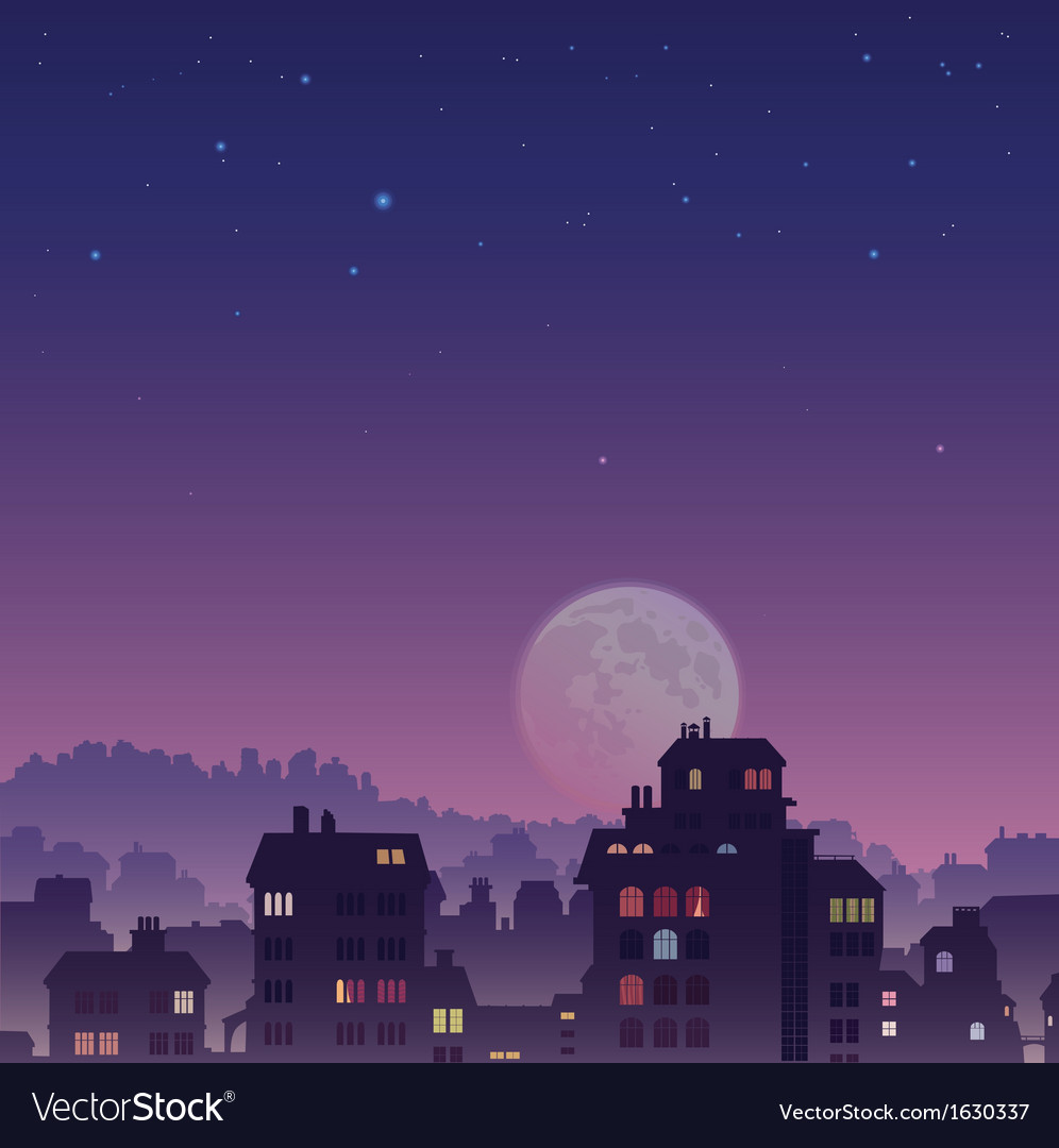 City by night vector | Price: 1 Credit (USD $1)