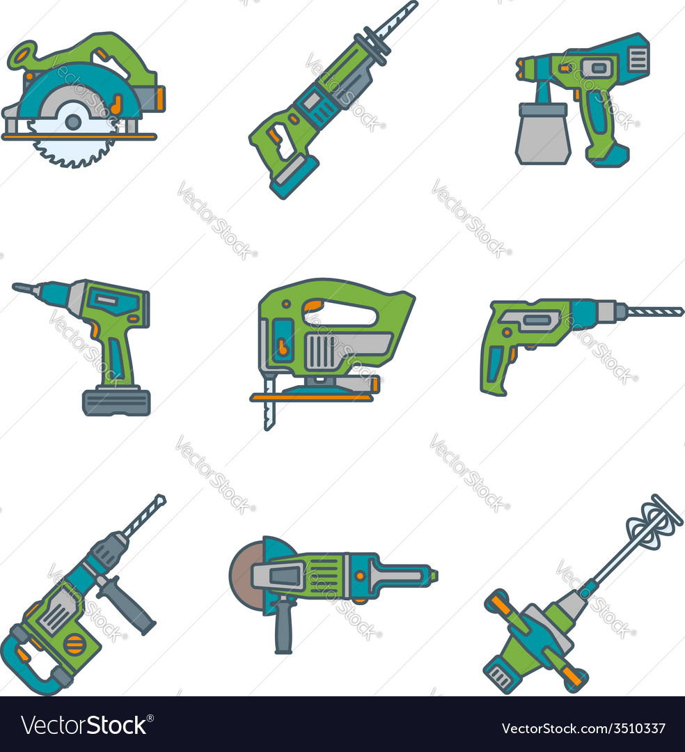 Color outline house remodel power tools icons vector | Price: 1 Credit (USD $1)