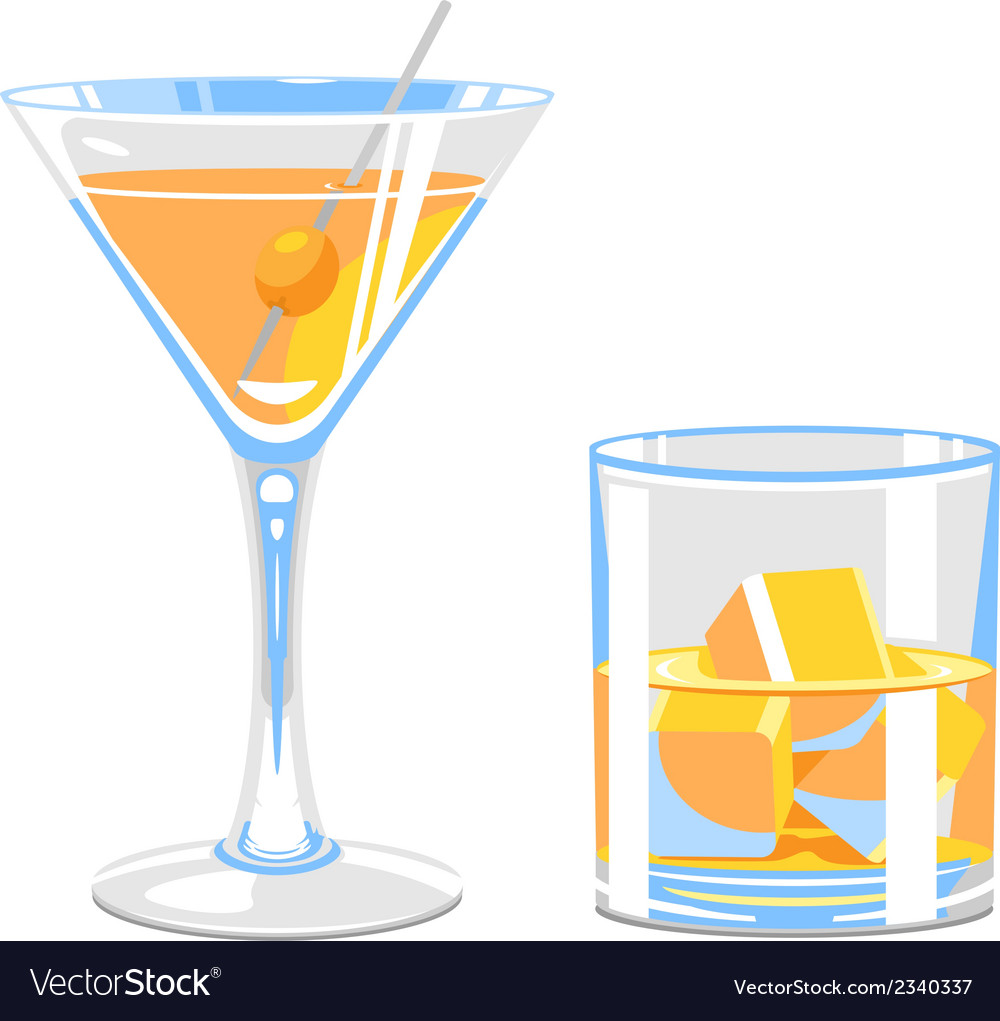 Glass of martini and whiskey vector | Price: 1 Credit (USD $1)