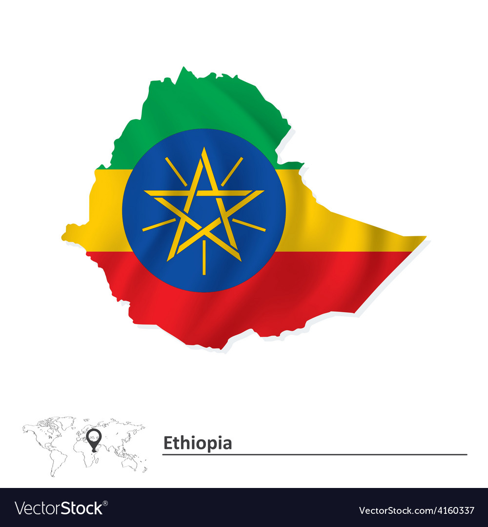 Map of ethiopia with flag vector | Price: 1 Credit (USD $1)