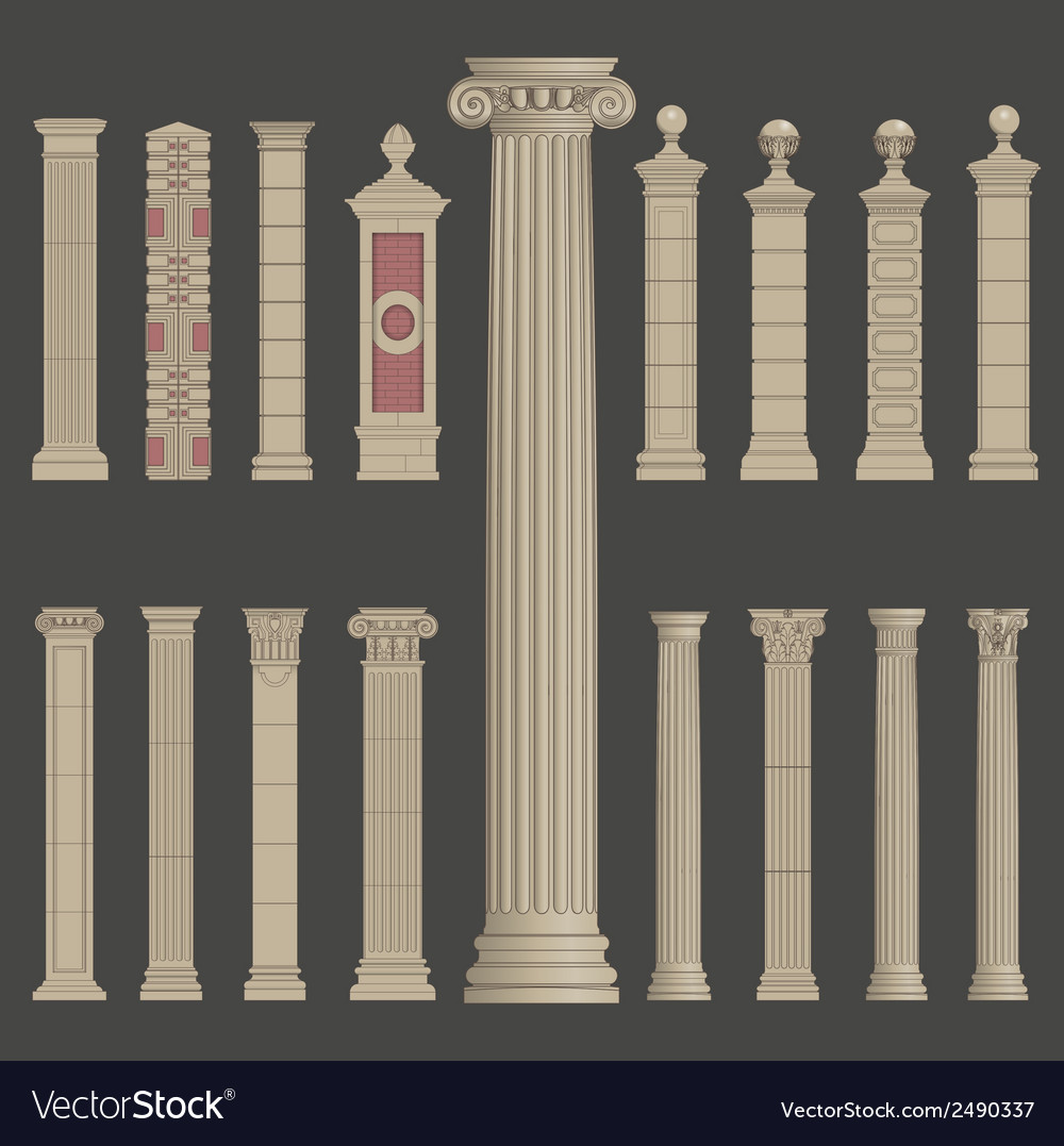 Pillar column roman greek architecture vector | Price: 1 Credit (USD $1)