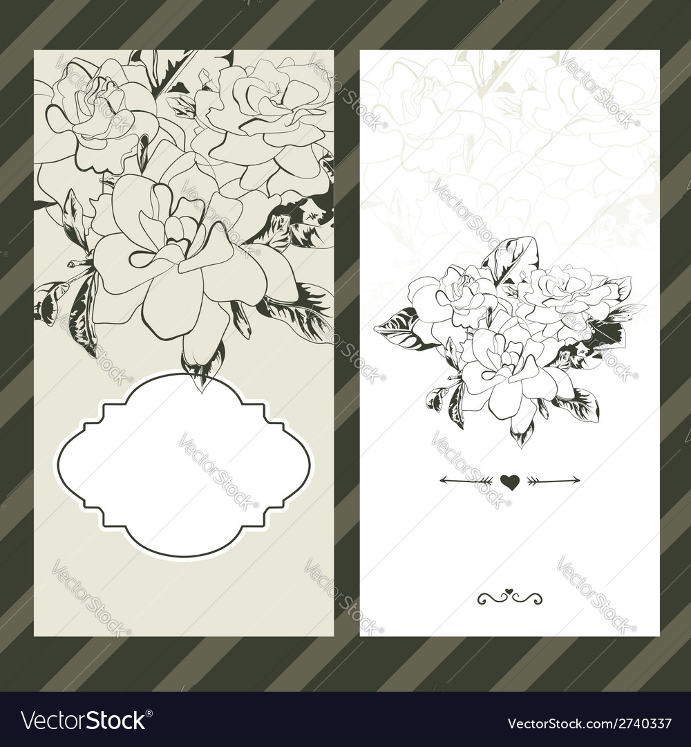 Set of invitations with floral background vector | Price: 1 Credit (USD $1)