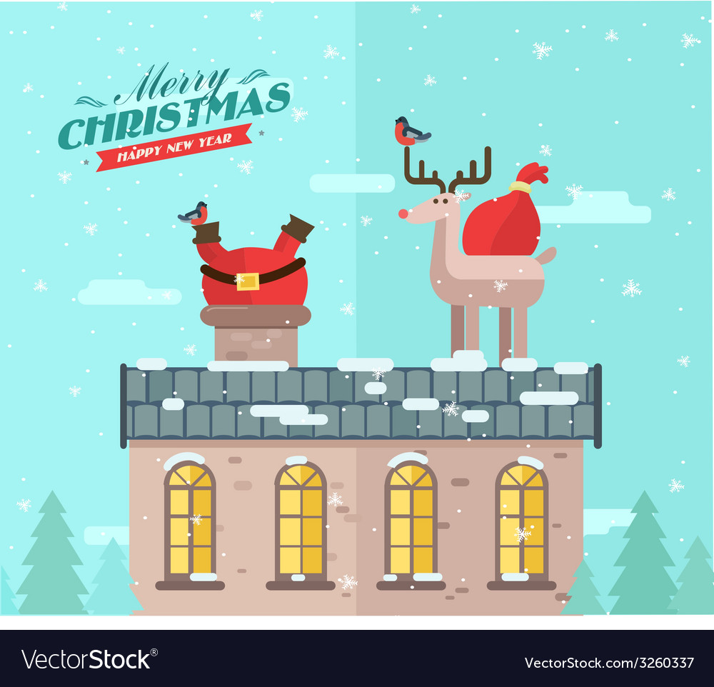Winter background santa on the roof vector | Price: 1 Credit (USD $1)