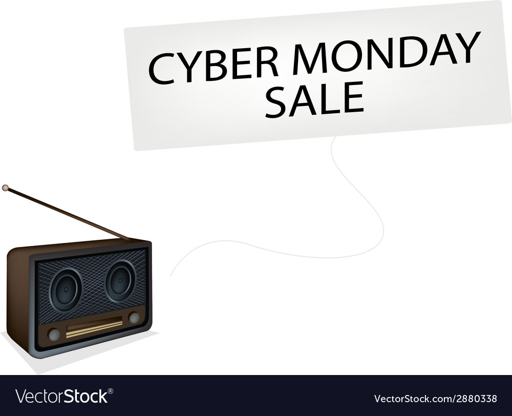 Beautiful old radio playing cyber monday song vector | Price: 1 Credit (USD $1)