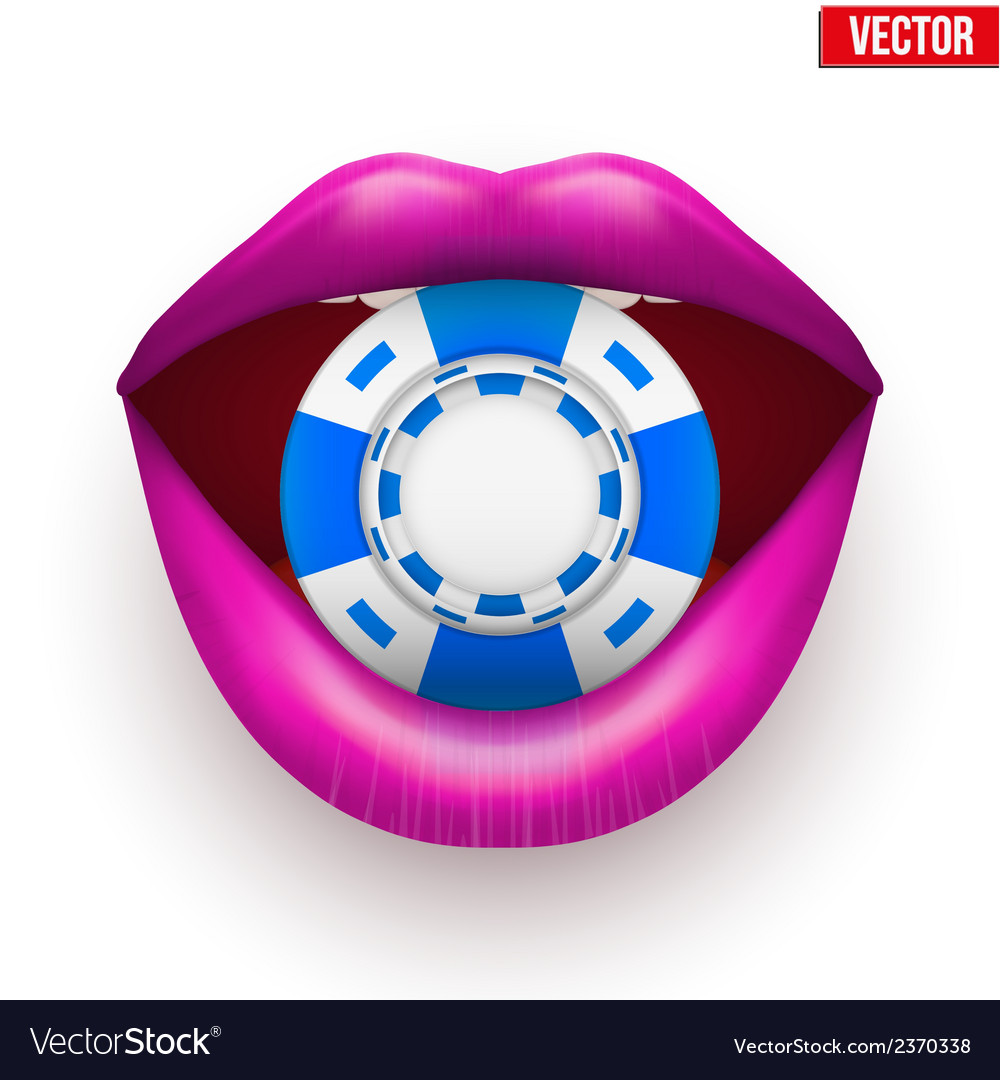 Casino chips in female purple lips vector | Price: 1 Credit (USD $1)