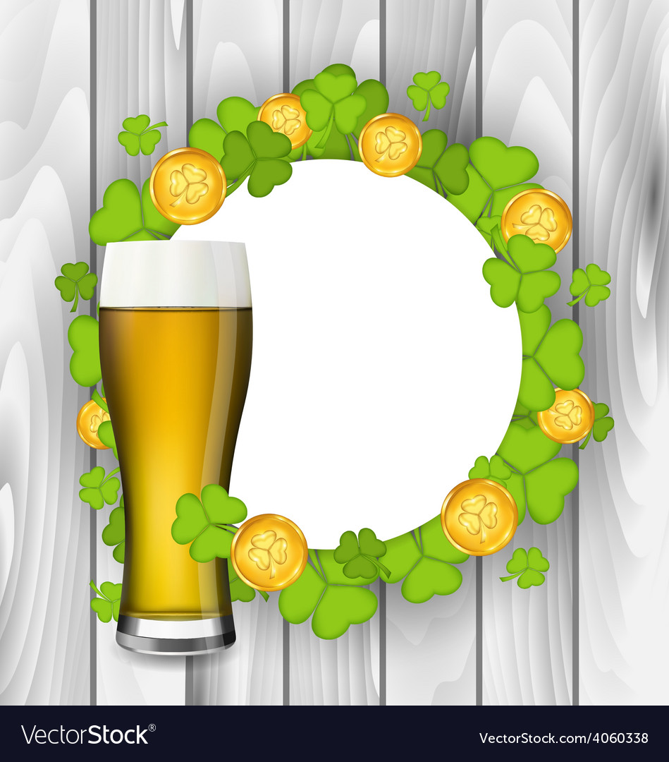Celebration card with glass of light beer vector | Price: 1 Credit (USD $1)