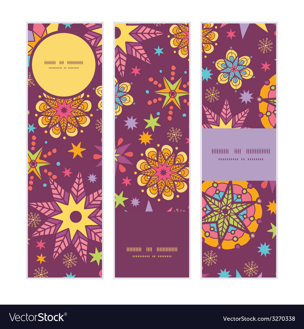 Colorful stars vertical banners set pattern vector | Price: 1 Credit (USD $1)