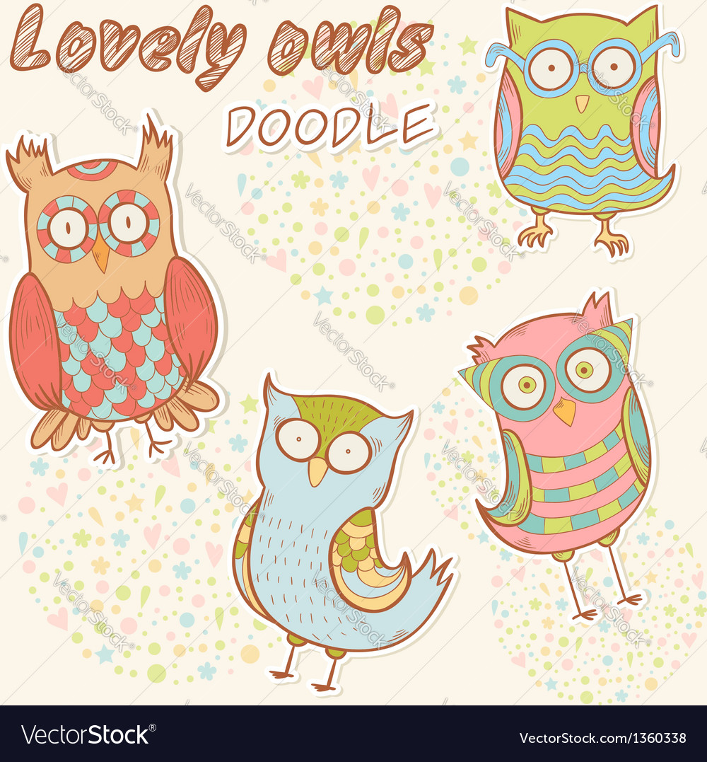 Cute cartoon owl stylish sticker set collection vector | Price: 3 Credit (USD $3)