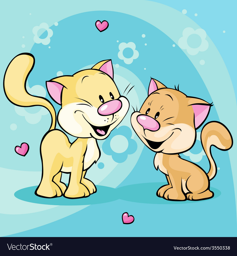 Cute kitty in love on abstract floral background vector | Price: 1 Credit (USD $1)