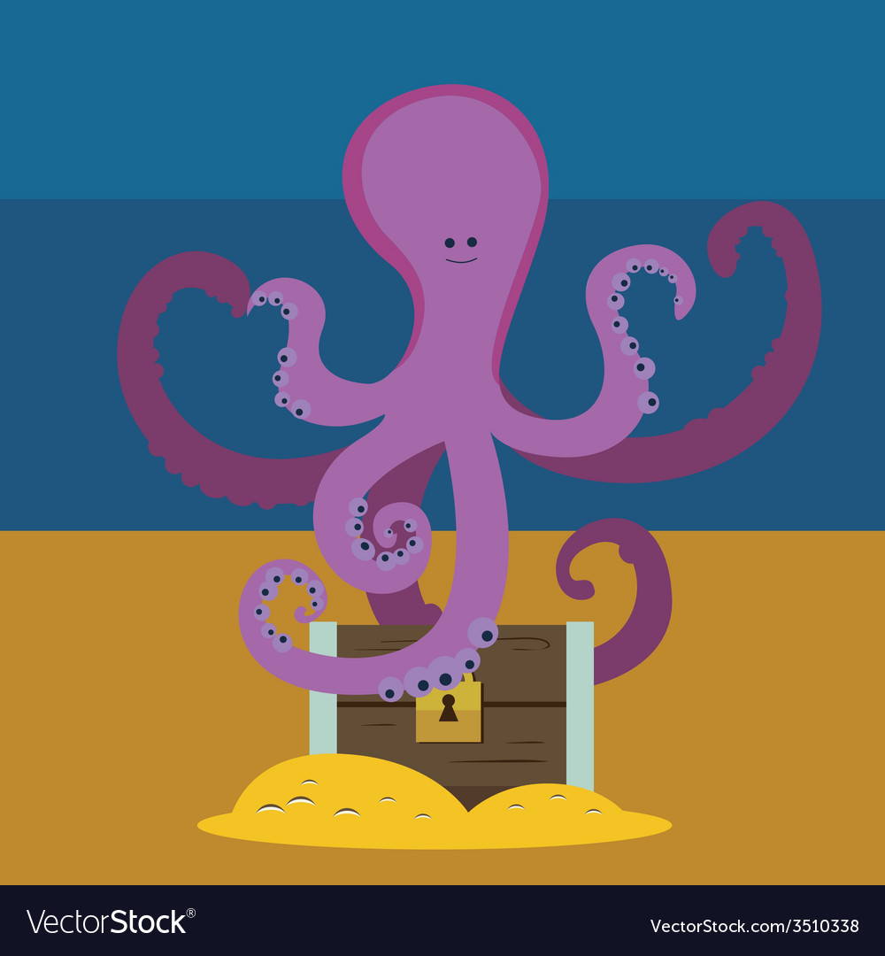 Cute octopus and chest with gold vector | Price: 1 Credit (USD $1)