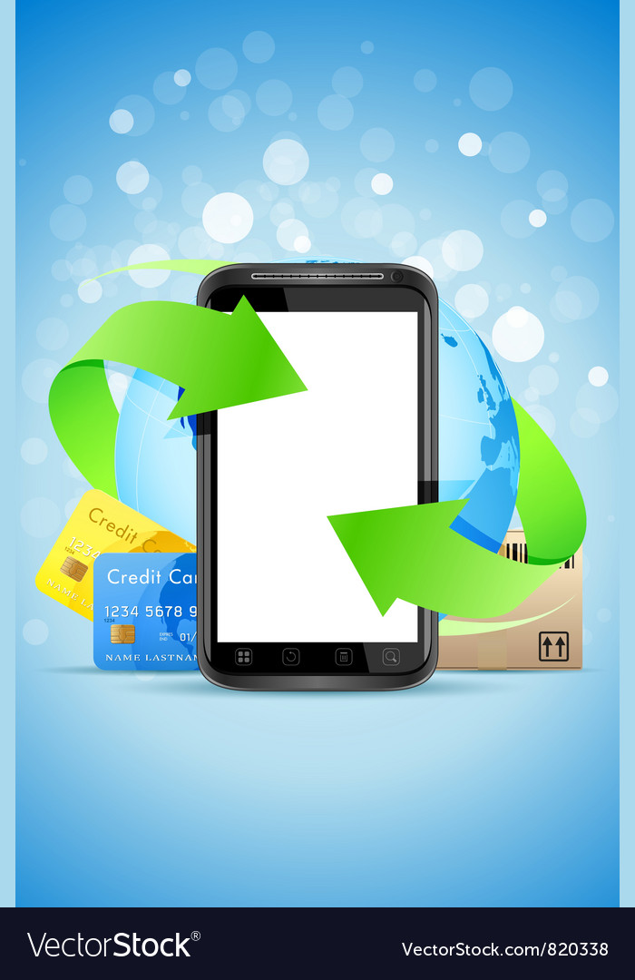 Empty touch phone with earth globe bank cards and vector | Price: 3 Credit (USD $3)