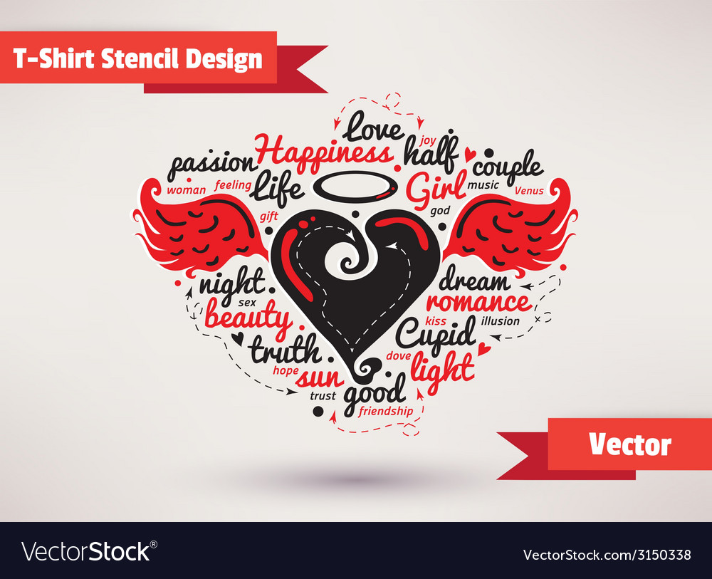 Heart with wings t-shirt stencil design vector | Price: 1 Credit (USD $1)