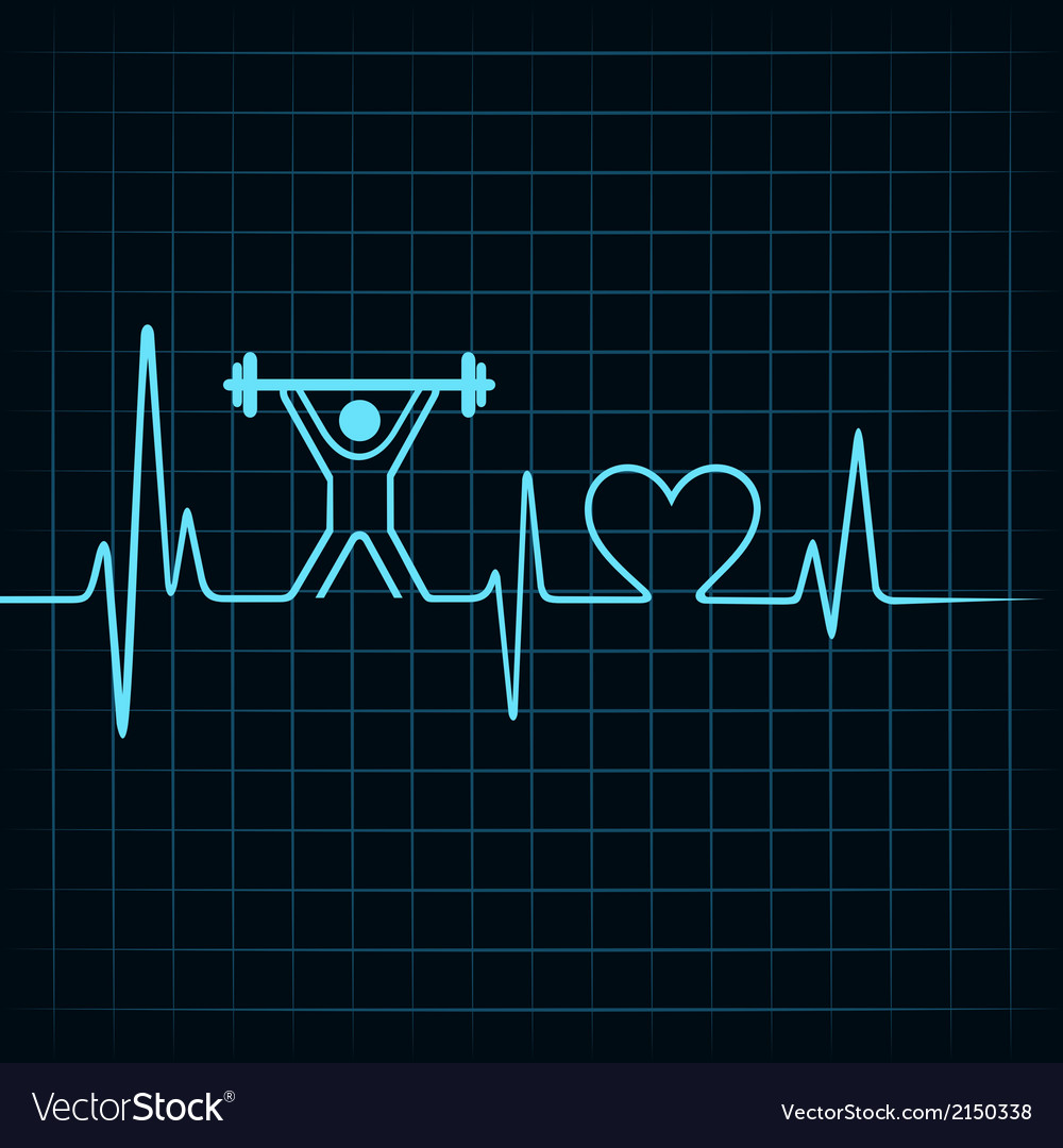Heartbeat make lifting man and heart symbol vector | Price: 1 Credit (USD $1)