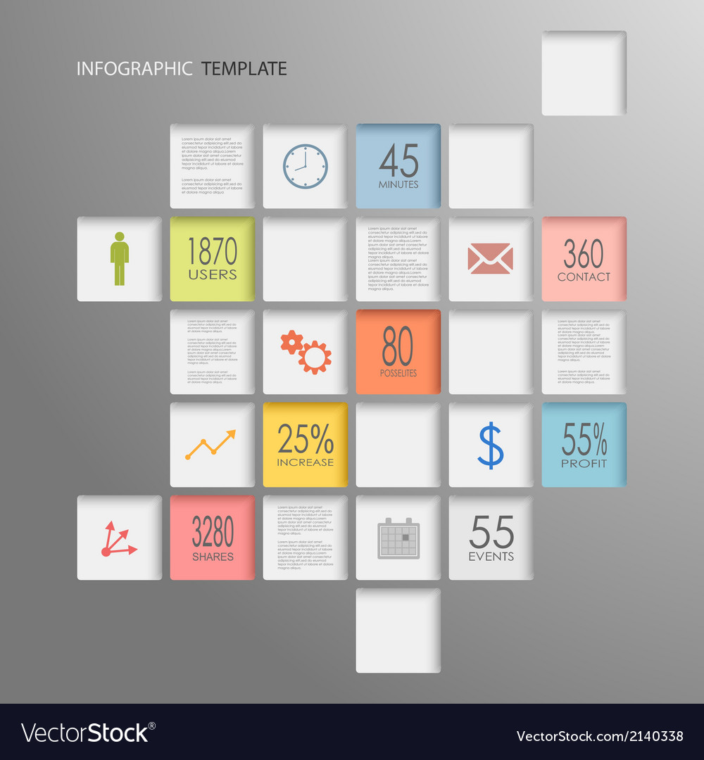 Info graphic squares elements template vector | Price: 1 Credit (USD $1)