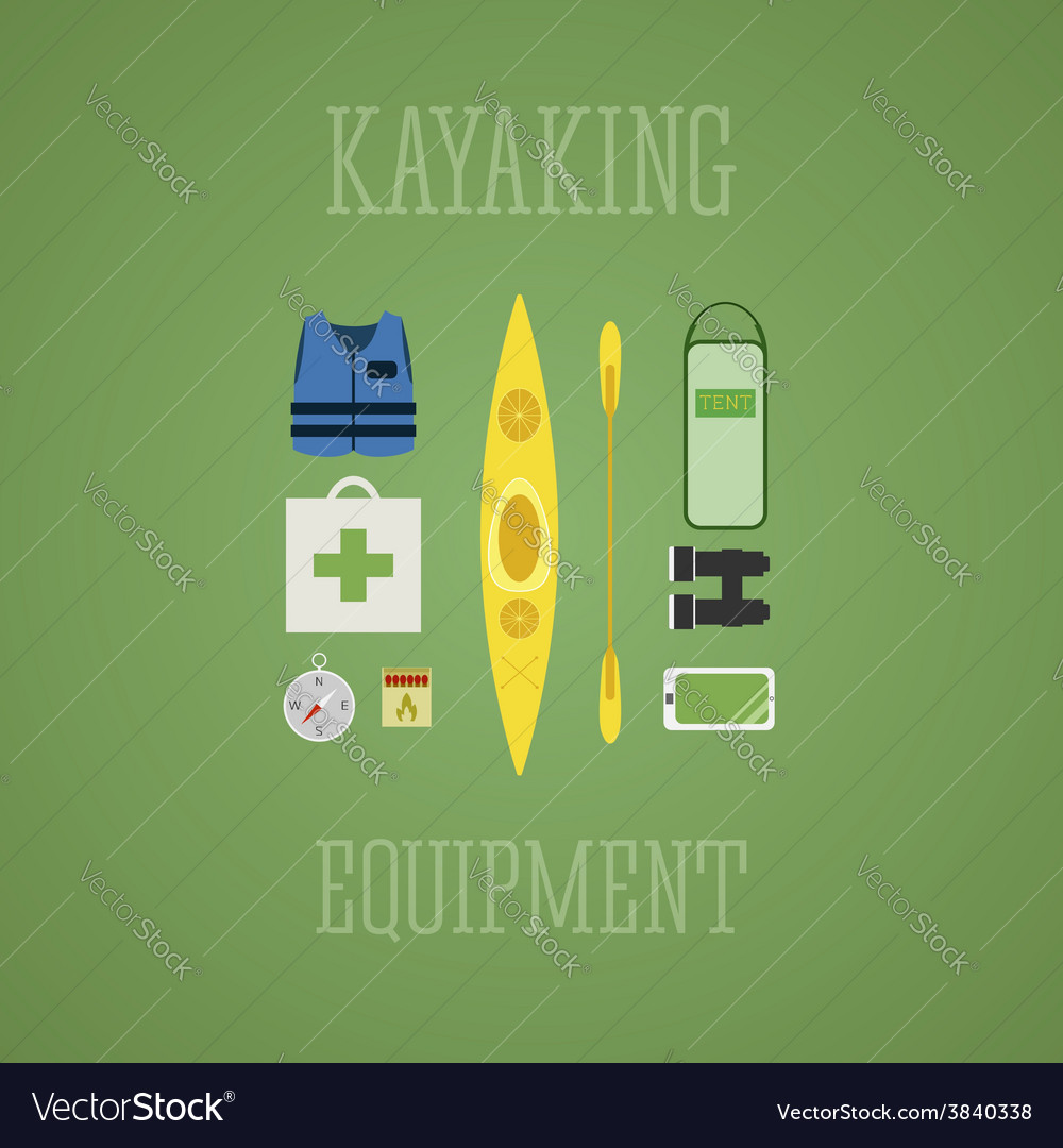Kayaking equipment icons set kayak on a multicolor vector | Price: 1 Credit (USD $1)