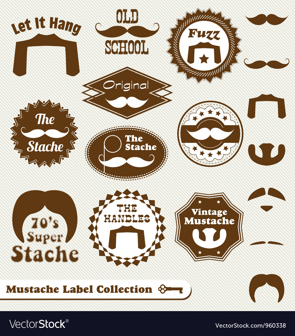 Mustache labels vector | Price: 1 Credit (USD $1)