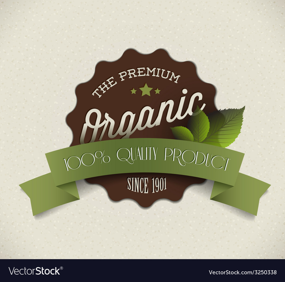 Old round retro vintage grunge label for organic vector | Price: 1 Credit (USD $1)
