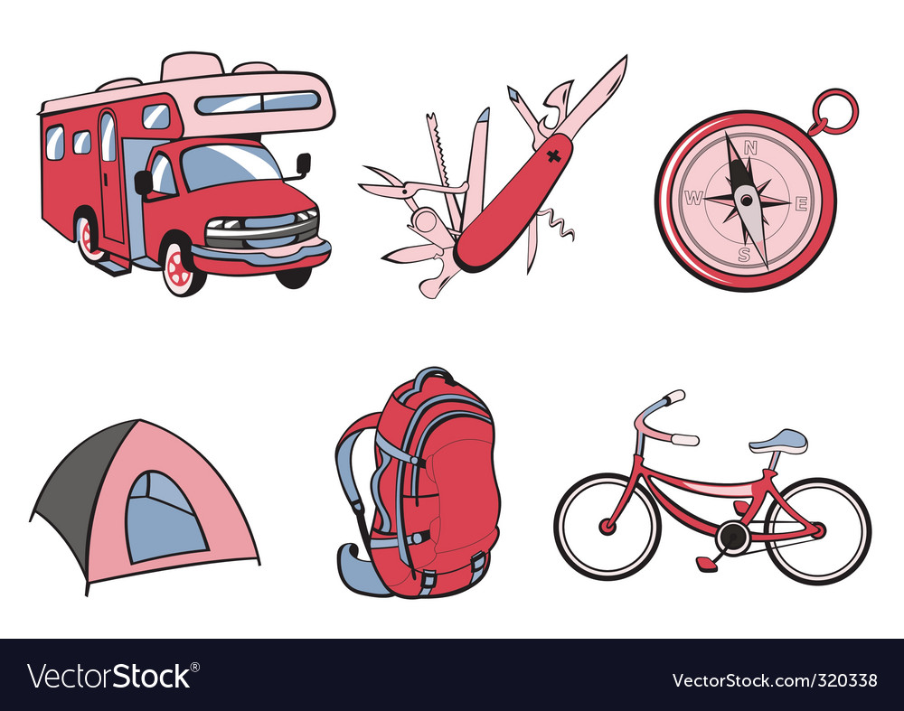 Outdoor and camping icons vector | Price: 1 Credit (USD $1)