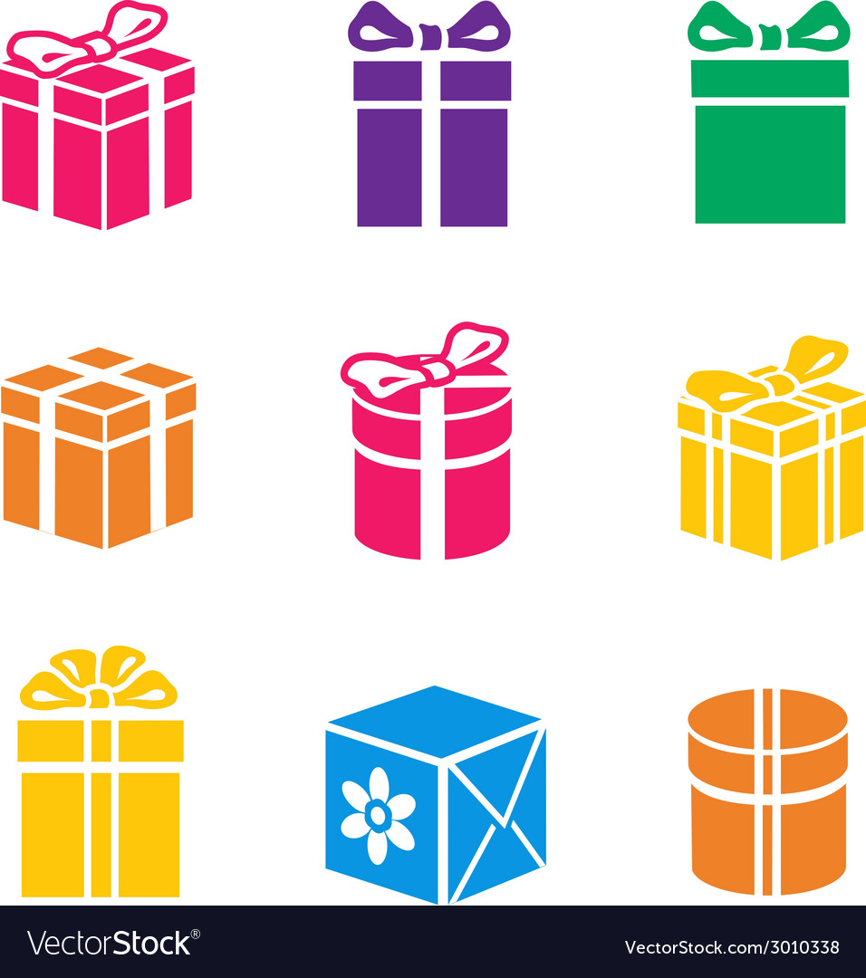 Set of colorful gift box vector | Price: 1 Credit (USD $1)
