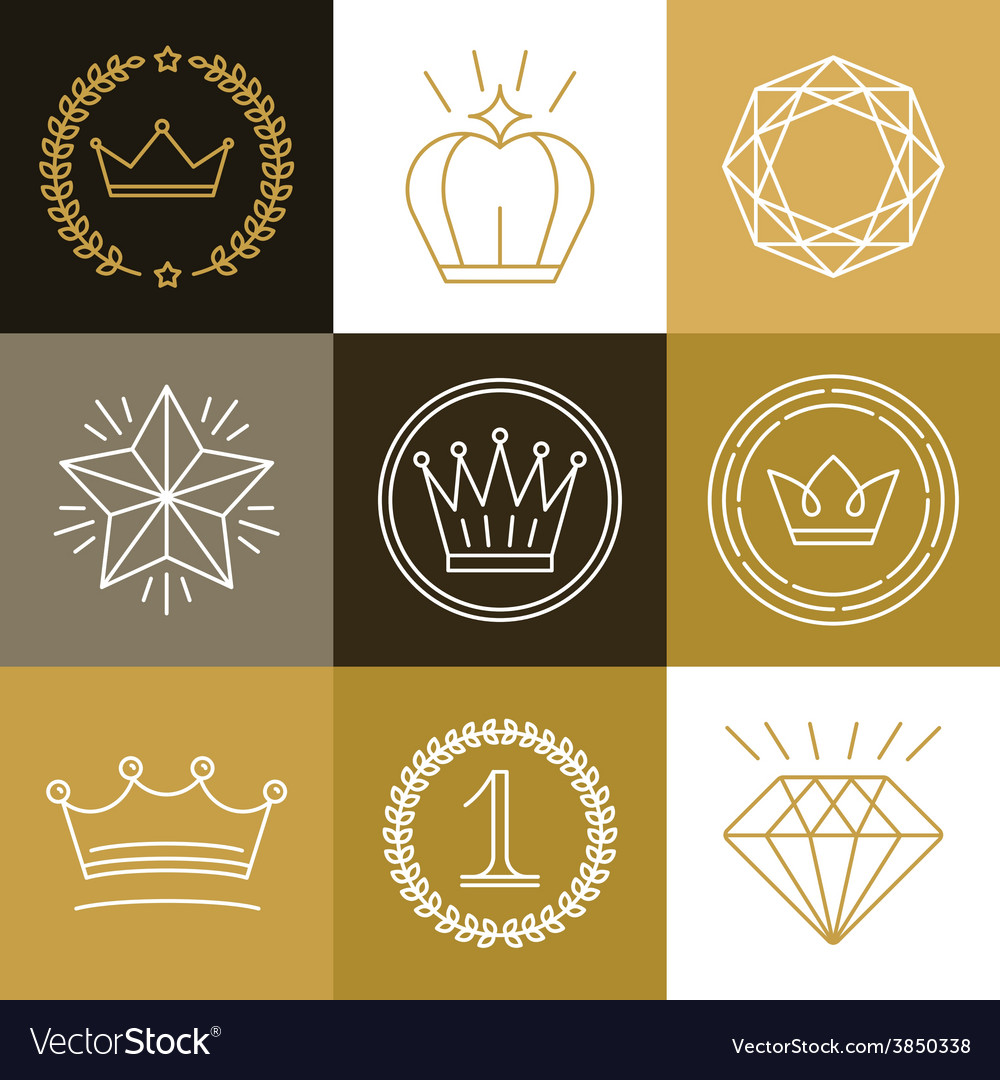 Set of linear gamification badges vector | Price: 1 Credit (USD $1)
