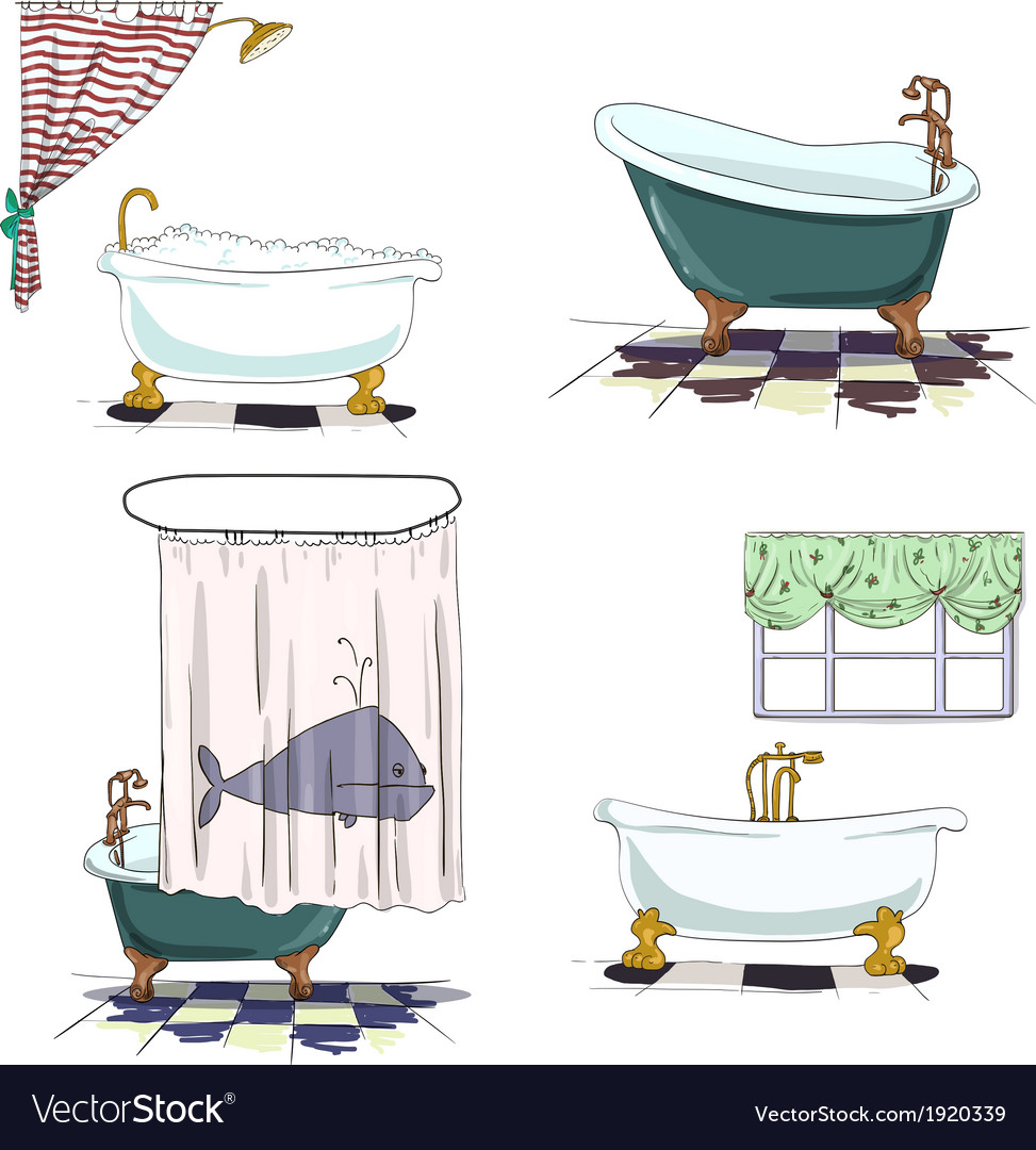 Bathtubs cartoon style bathroom interior element vector | Price: 1 Credit (USD $1)