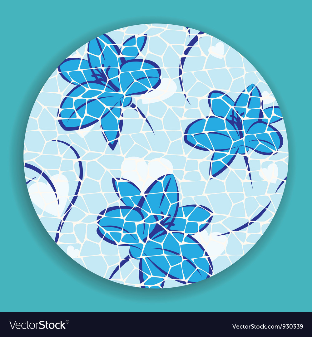 Blue mosaic flower vector | Price: 1 Credit (USD $1)