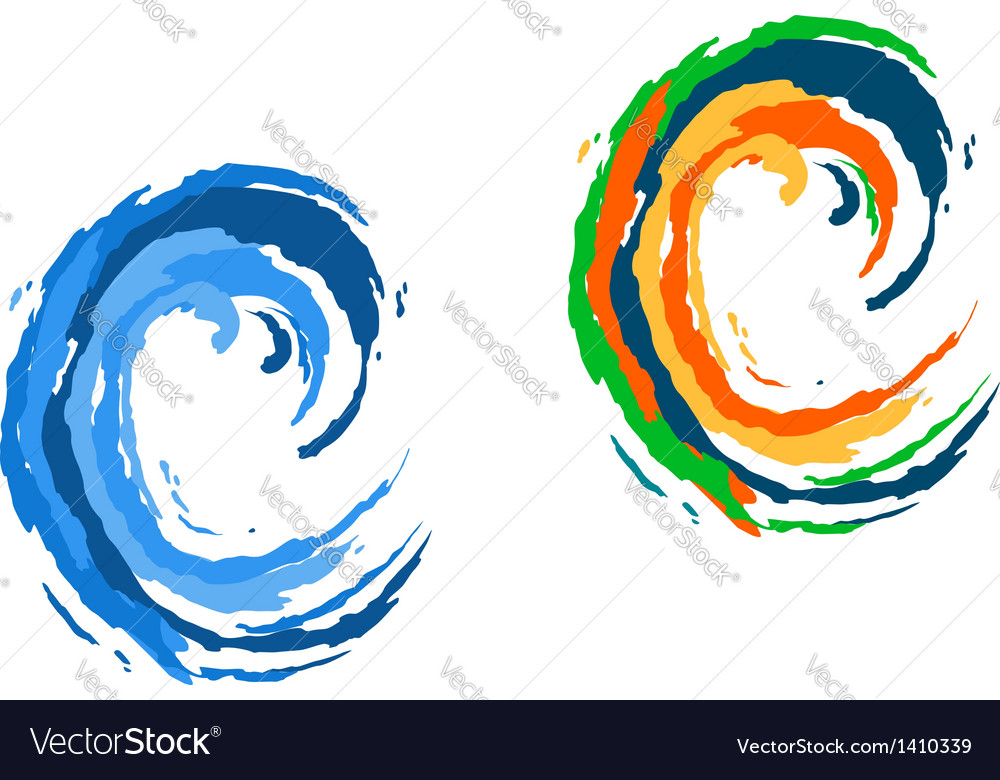 Colorful and blue waves vector | Price: 1 Credit (USD $1)
