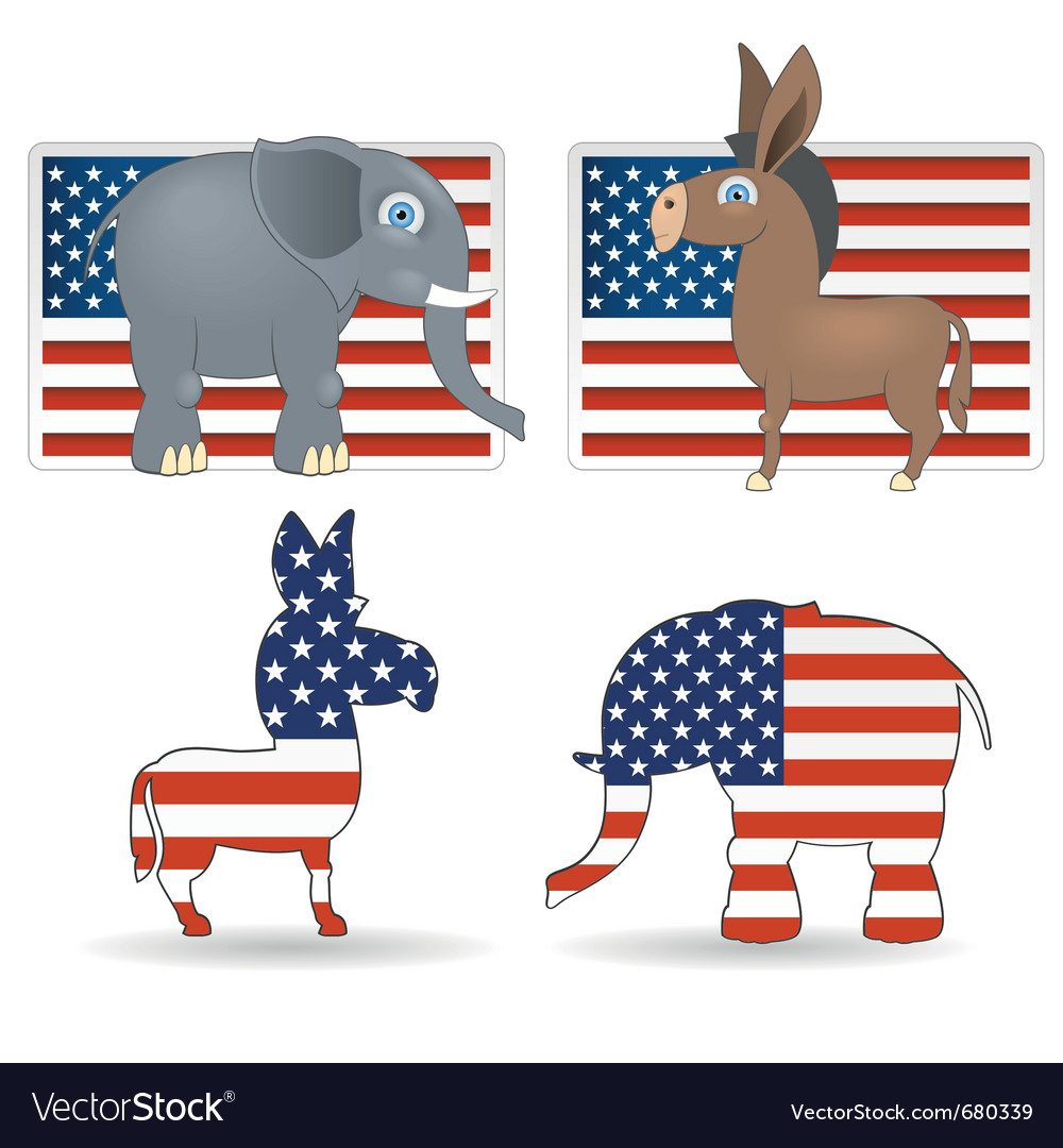 Democrat and republican symbols vector | Price: 1 Credit (USD $1)