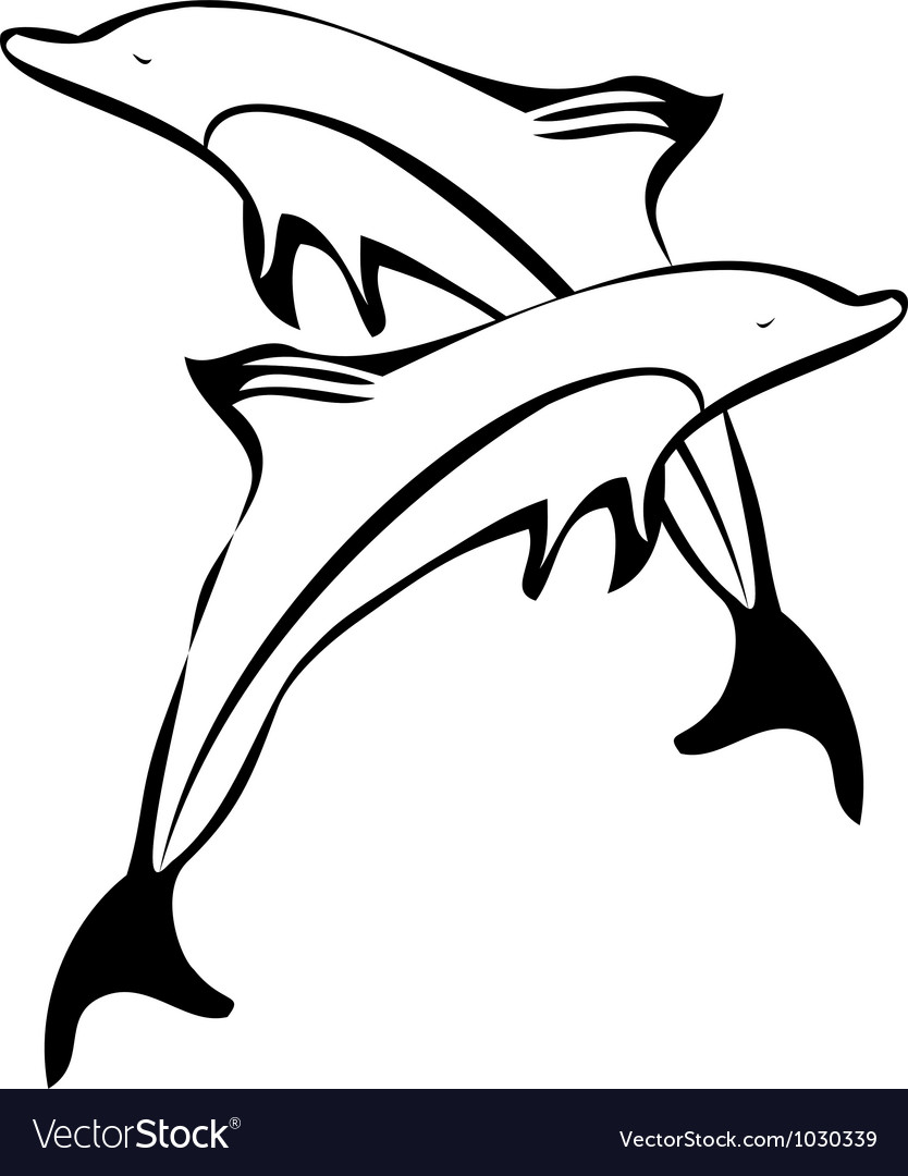 Dolphins silhouettes logo vector | Price: 1 Credit (USD $1)