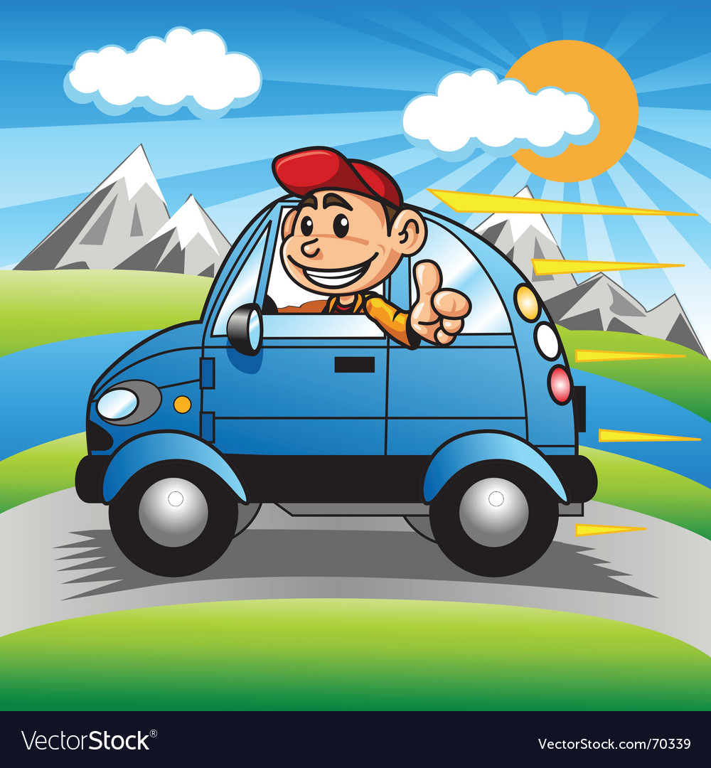 Driving happy boy vector | Price: 1 Credit (USD $1)