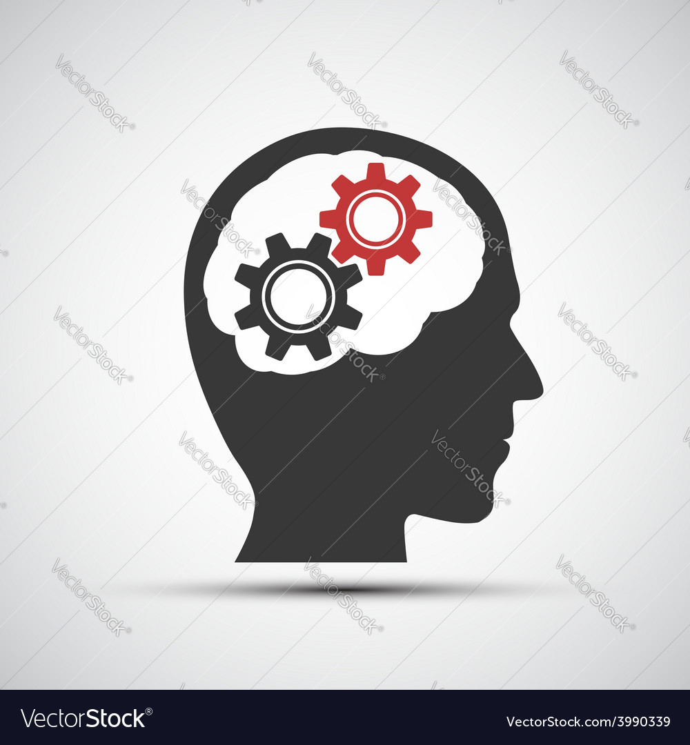 Icon of human head with mechanical gears vector | Price: 1 Credit (USD $1)