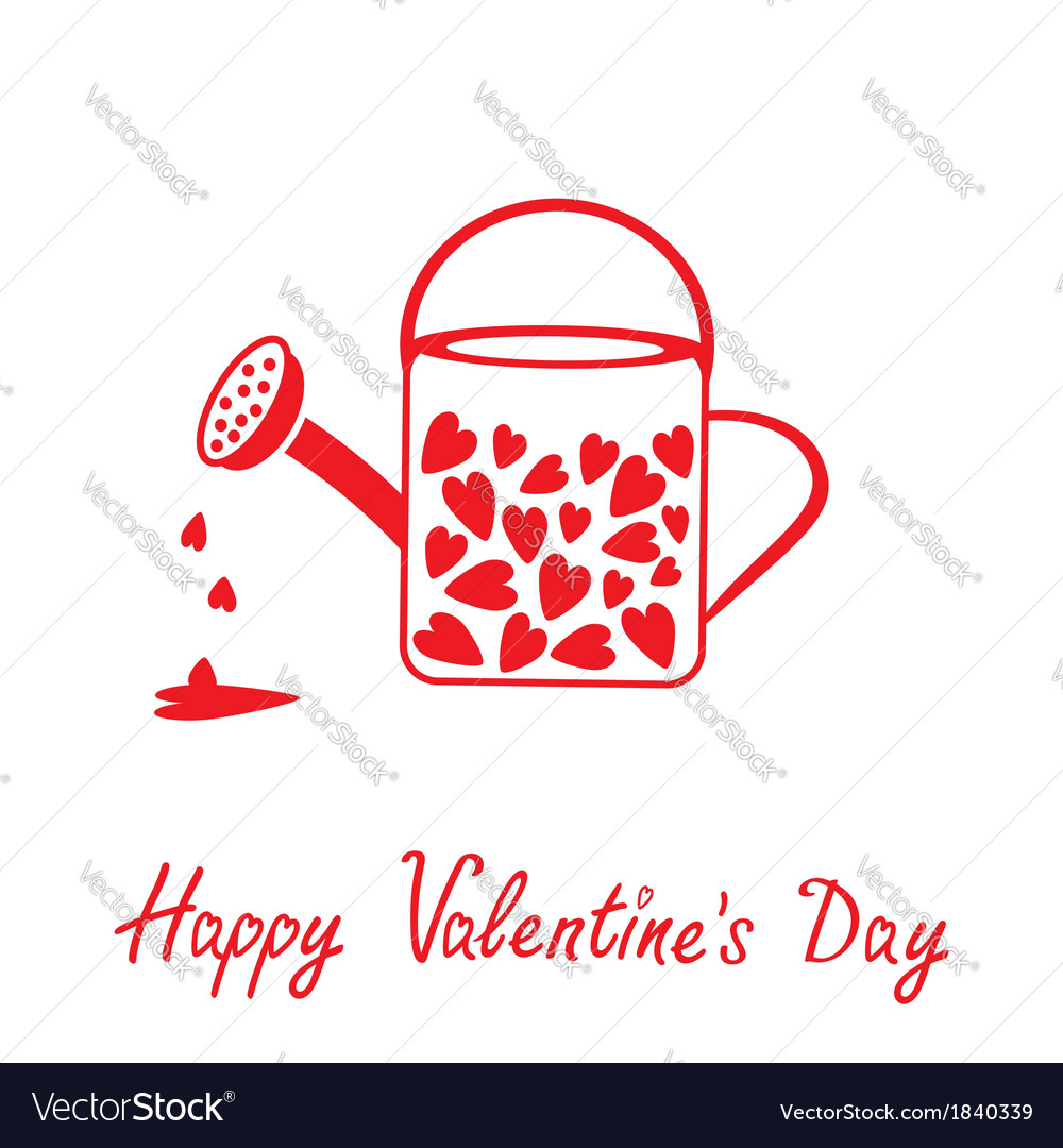 Love watering can with hearts happy valentines day vector | Price: 1 Credit (USD $1)