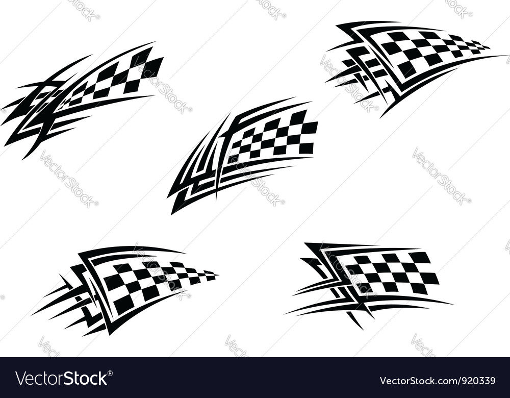 Racing flags in tribal style vector | Price: 1 Credit (USD $1)