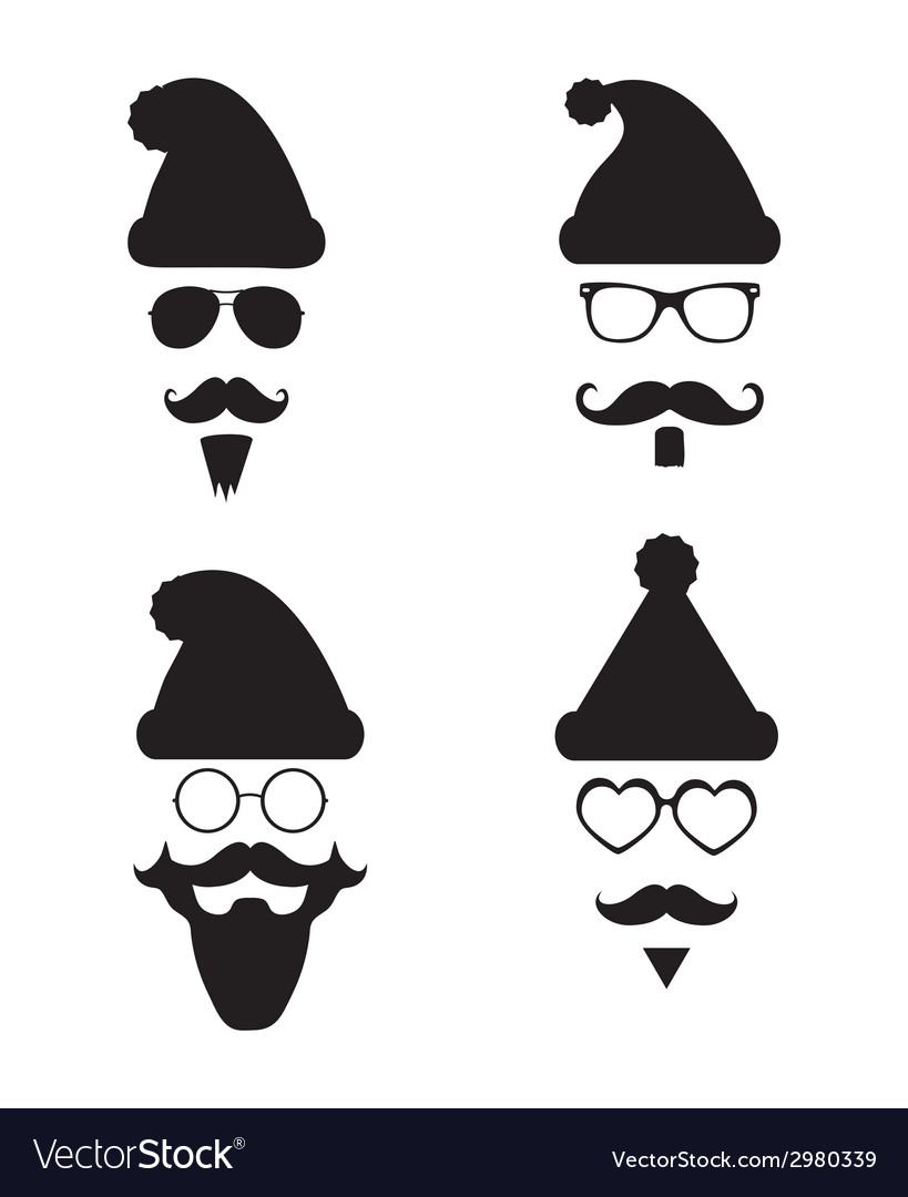 Santa klaus fashion silhouette hipster style vector | Price: 1 Credit (USD $1)