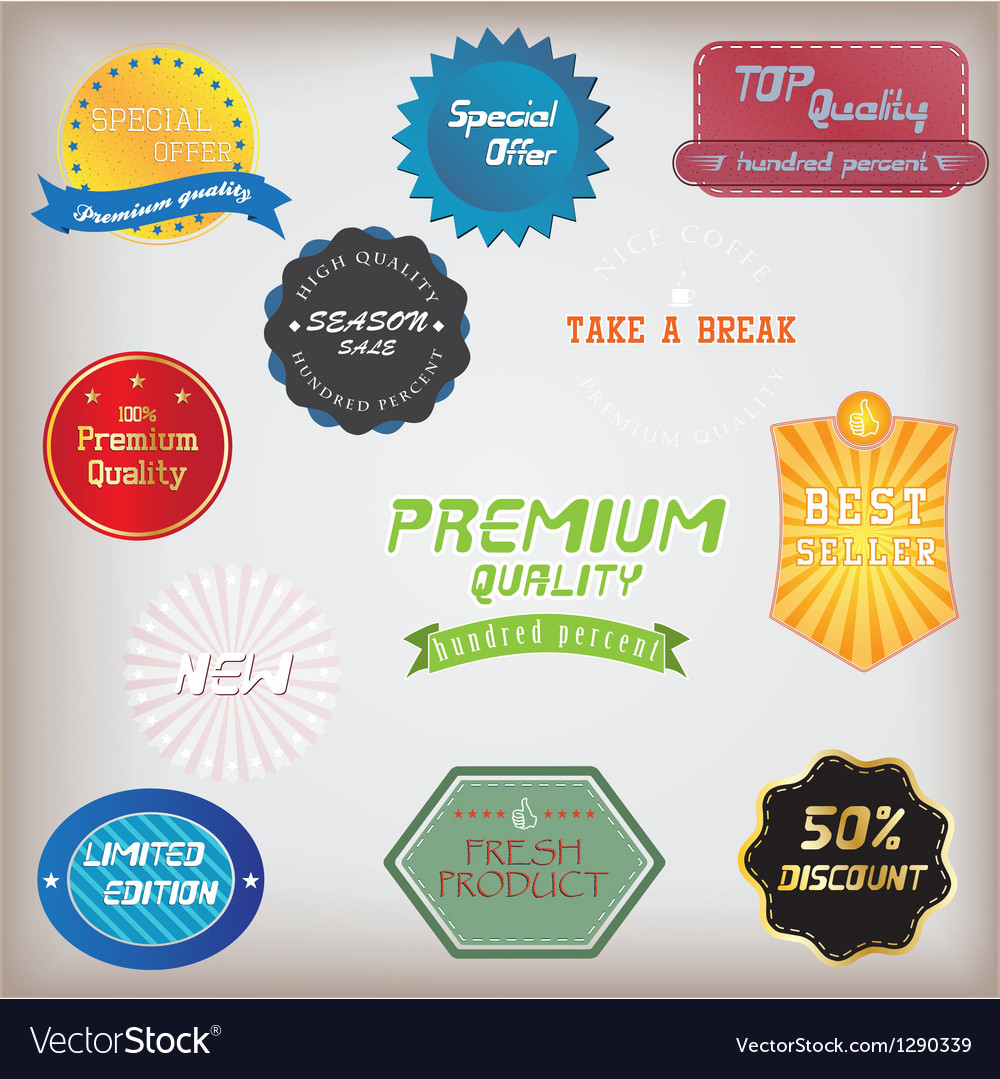 Set of badge and labels vector   Price: 1 Credit (USD $1)