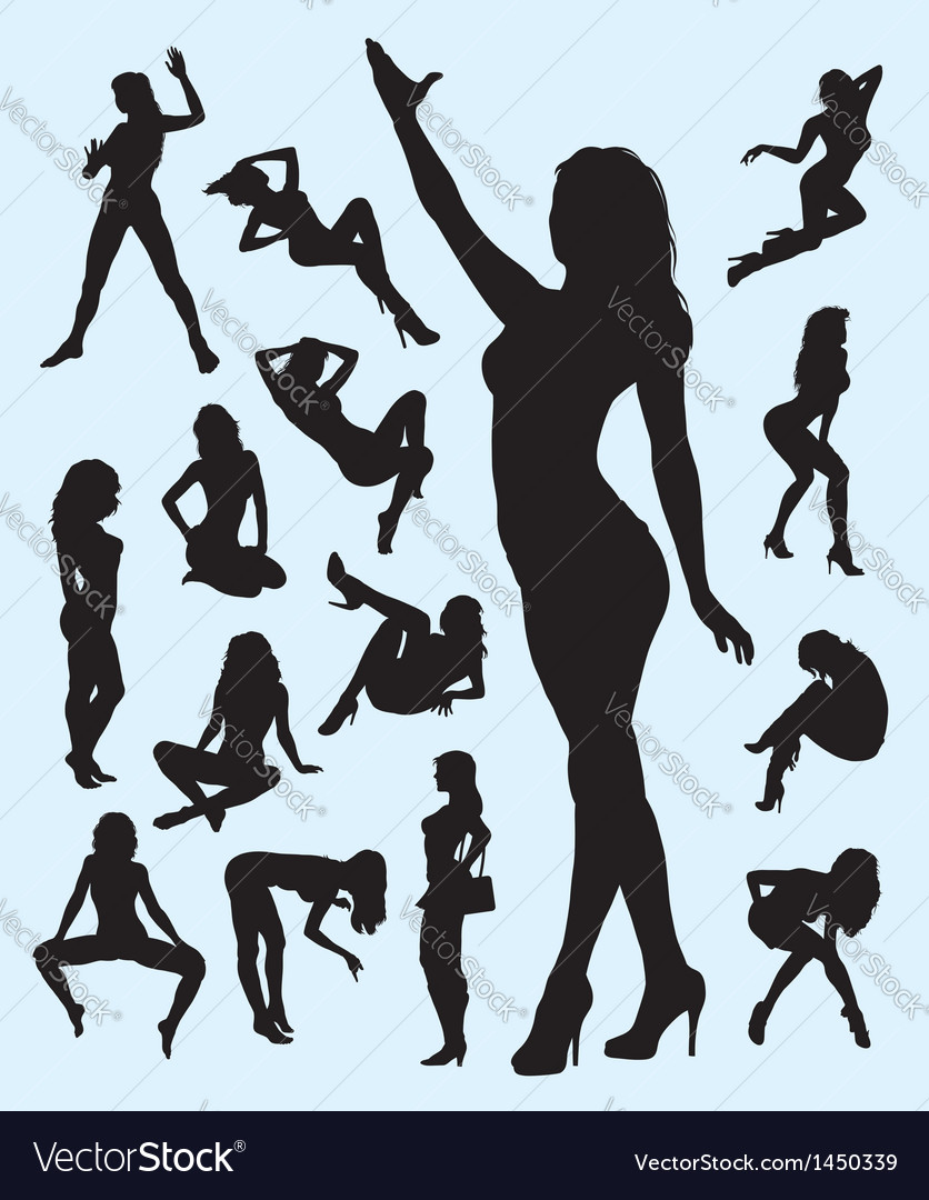 Sexy girl gesture silhouettes vector | Price: 1 Credit (USD $1)