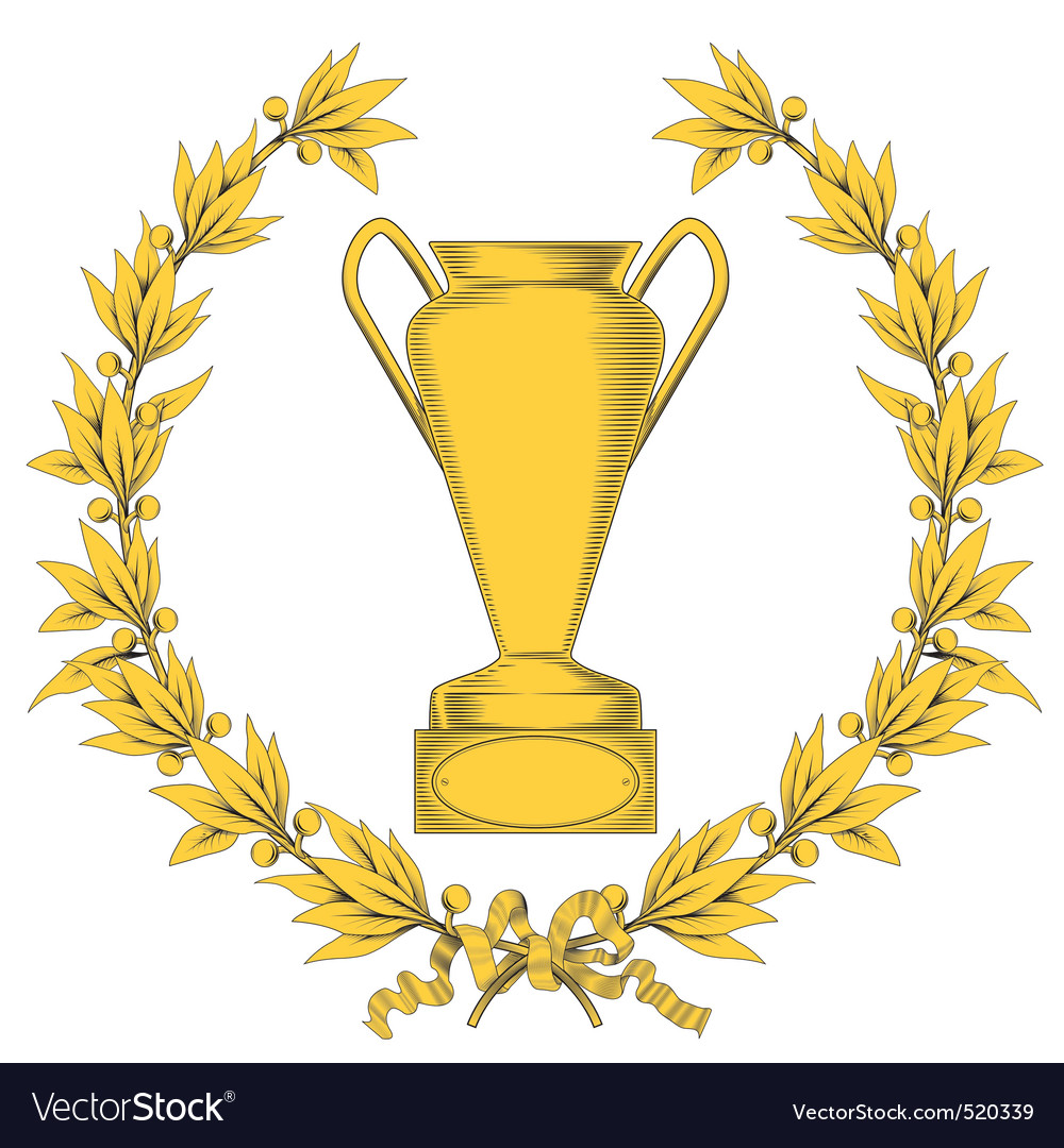 Wreath and winner cup vector | Price: 1 Credit (USD $1)