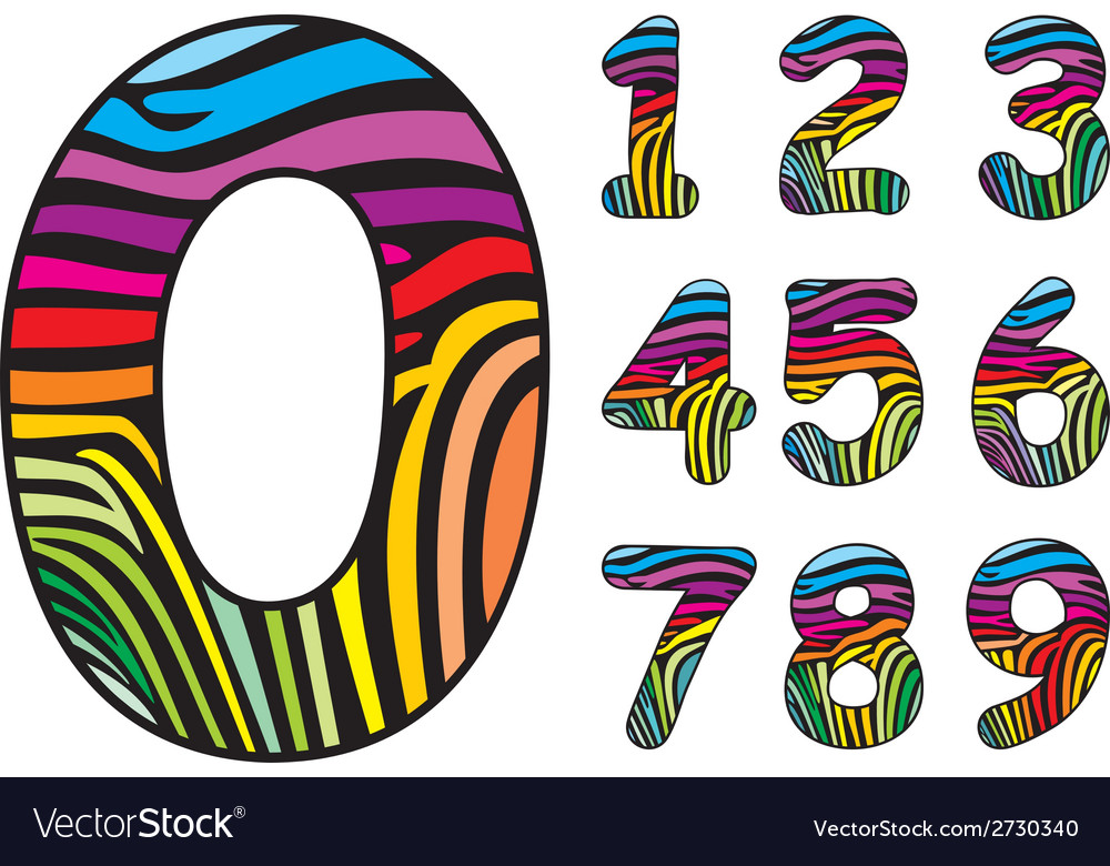 Background colored skin zebra shaped number vector