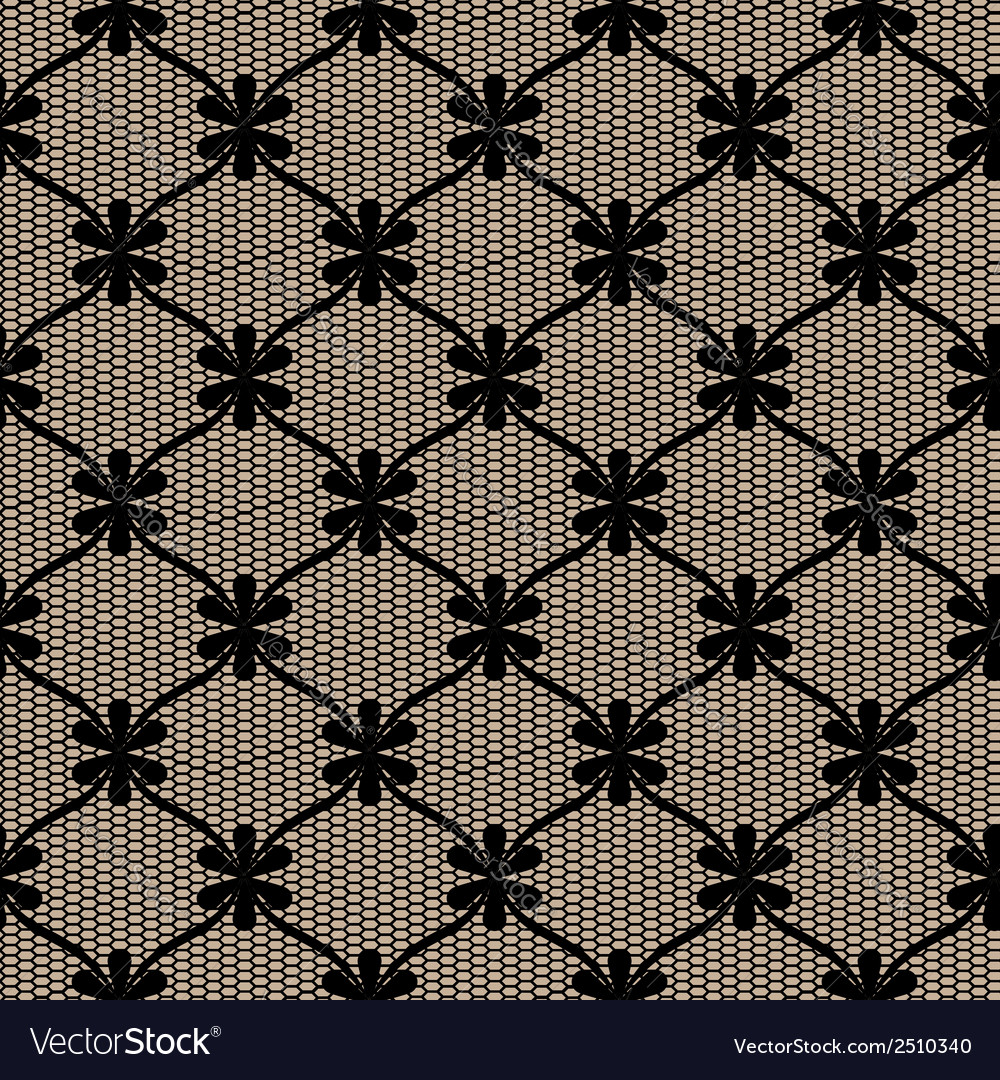 Black lace seamless pattern with flower net vector | Price: 1 Credit (USD $1)