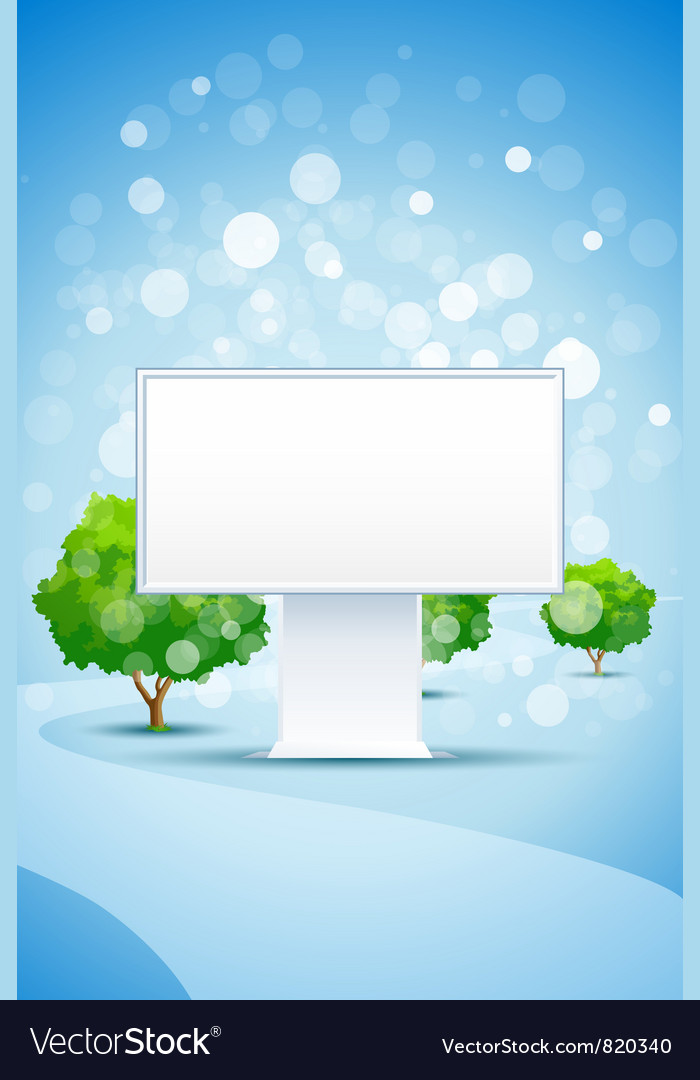 Blue background with empty billboard trees and roa vector | Price: 3 Credit (USD $3)