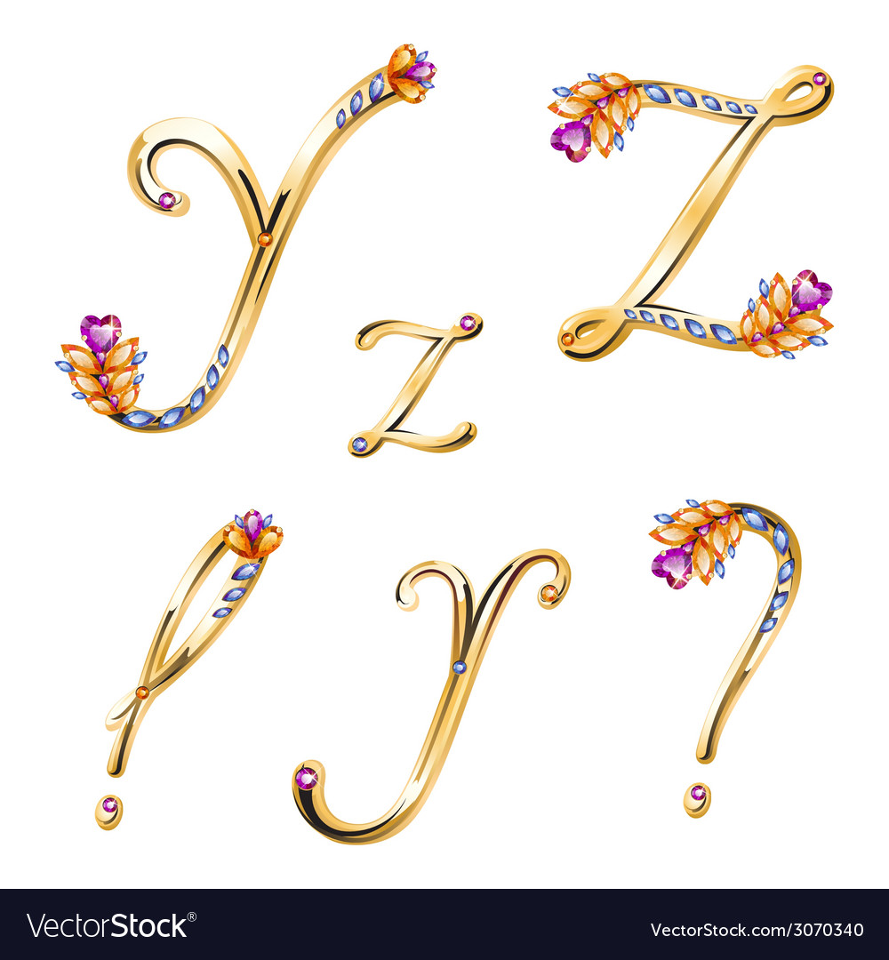 Bronze alphabet with colored gems letters y z and vector | Price: 1 Credit (USD $1)