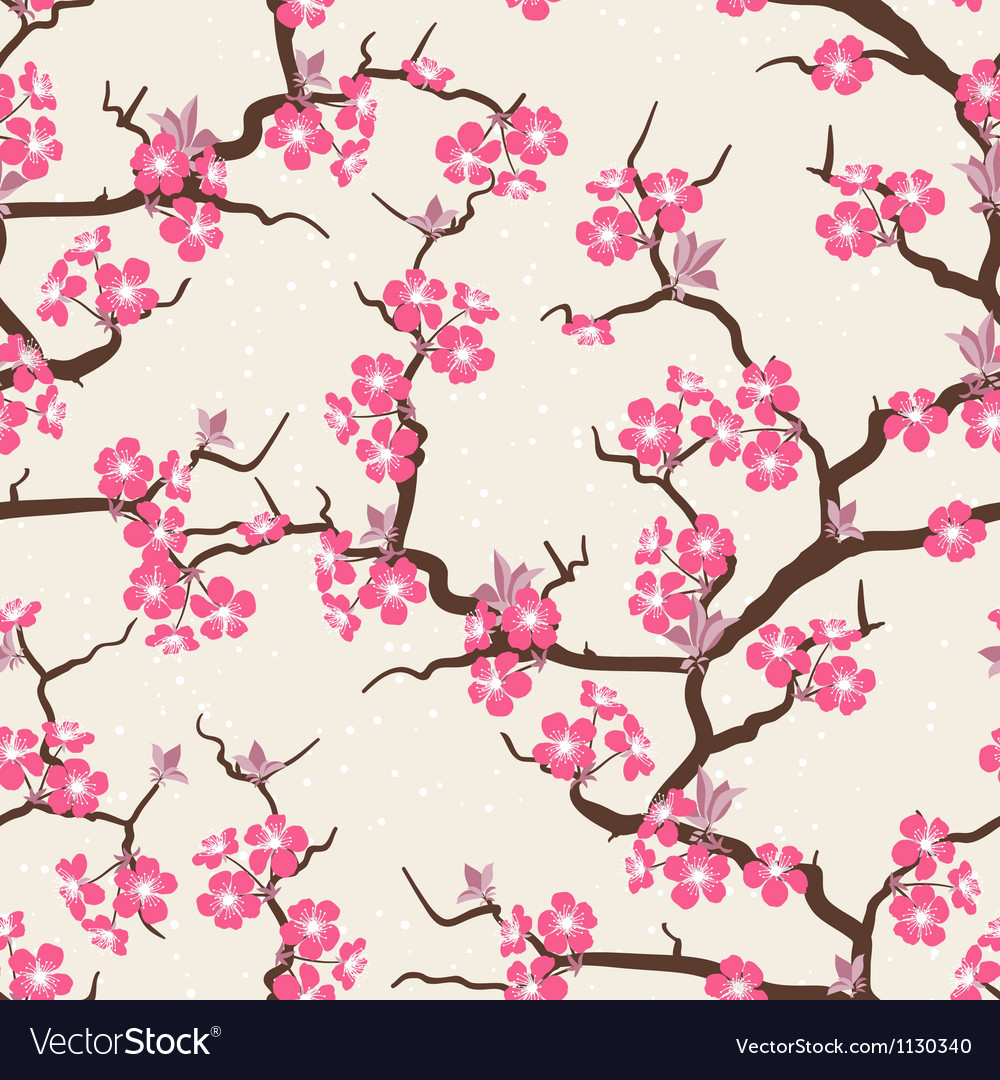 Cherry blossom seamless flowers pattern vector | Price: 1 Credit (USD $1)