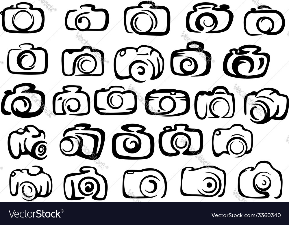 Digital and film camera icons vector